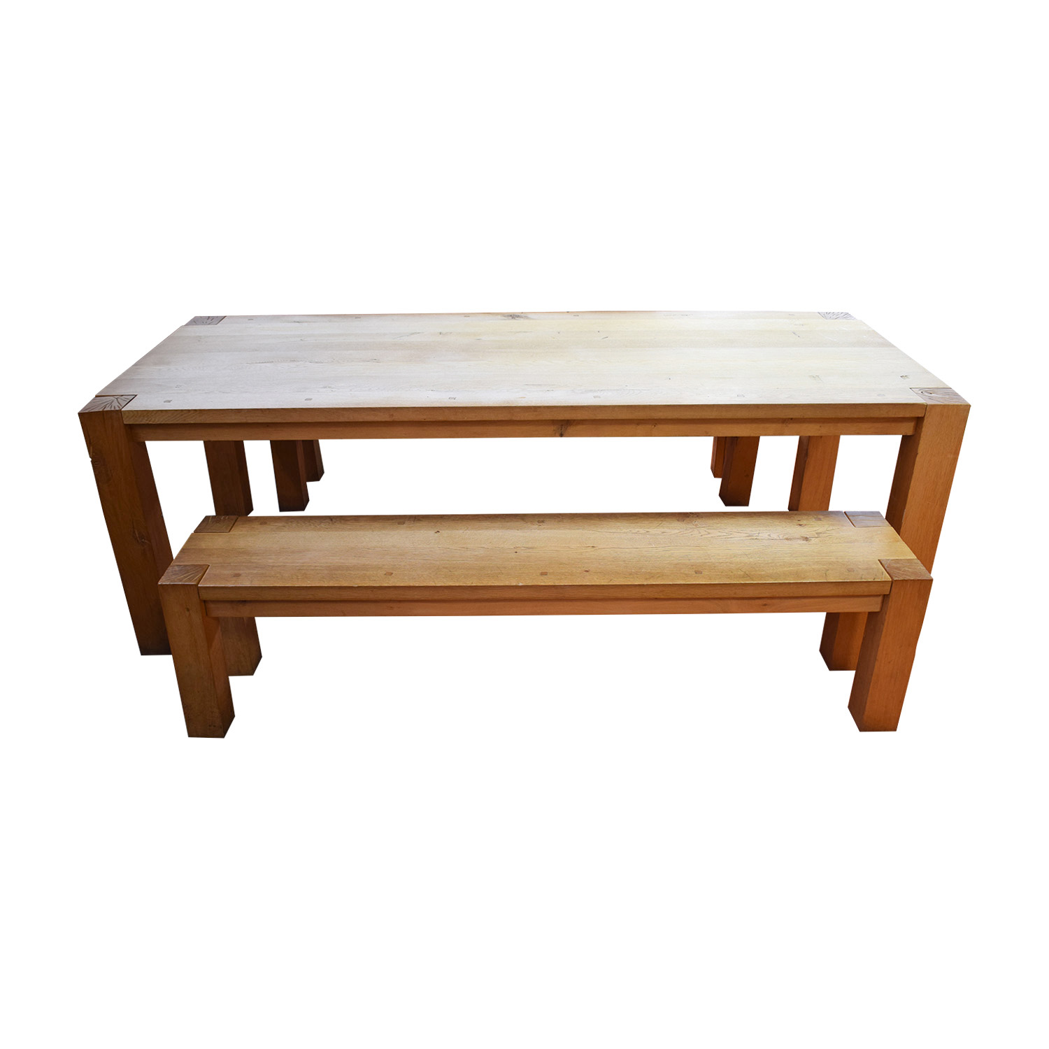 Crate & Barrel Crate & Barrel Big Sure Natural Dining Table with Benches wood