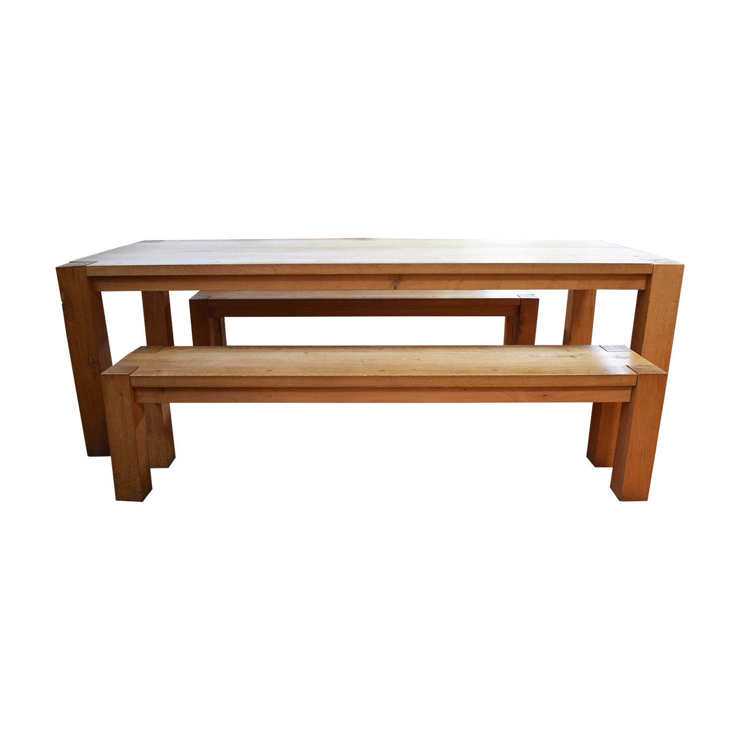 Crate & Barrel Crate & Barrel Big Sure Natural Dining Table with Benches discount