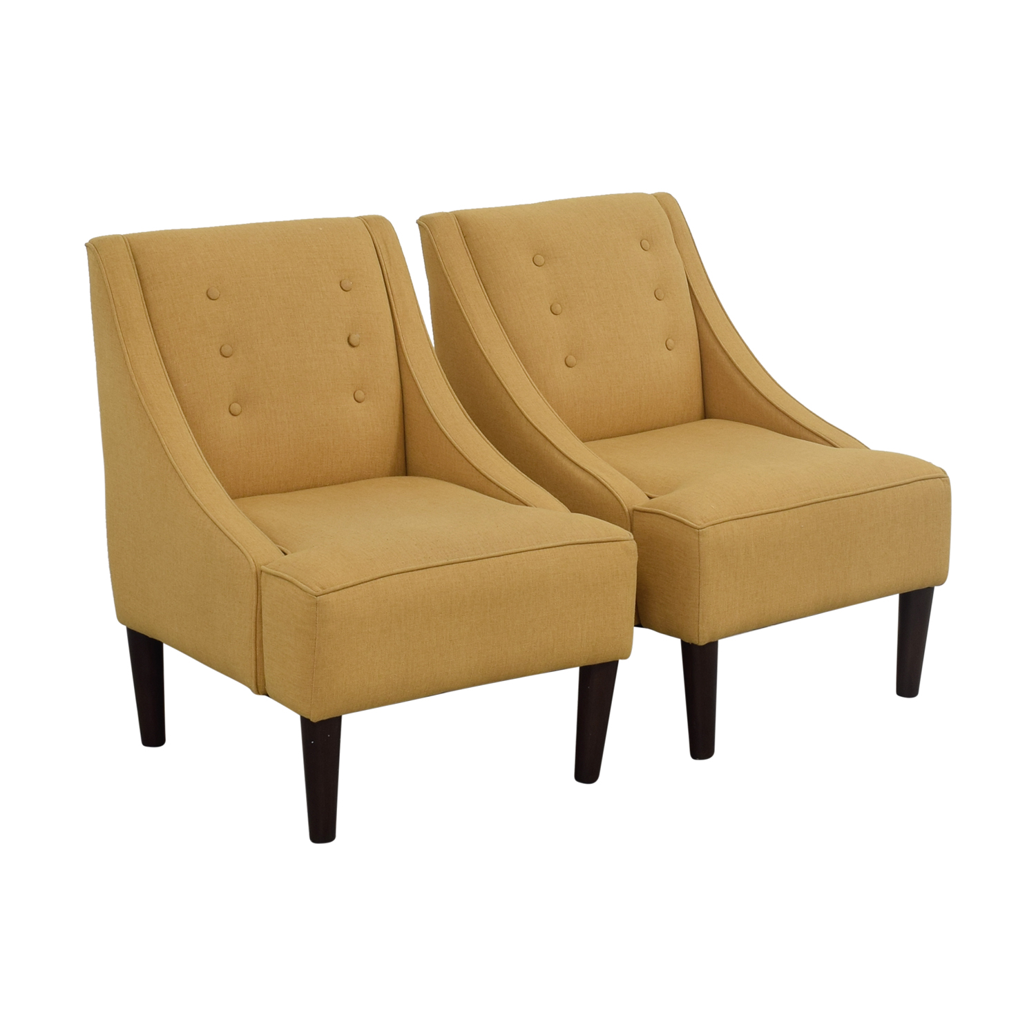 77 off thomas paul thomas paul mustard tufted accent chairs chairs. Black Bedroom Furniture Sets. Home Design Ideas