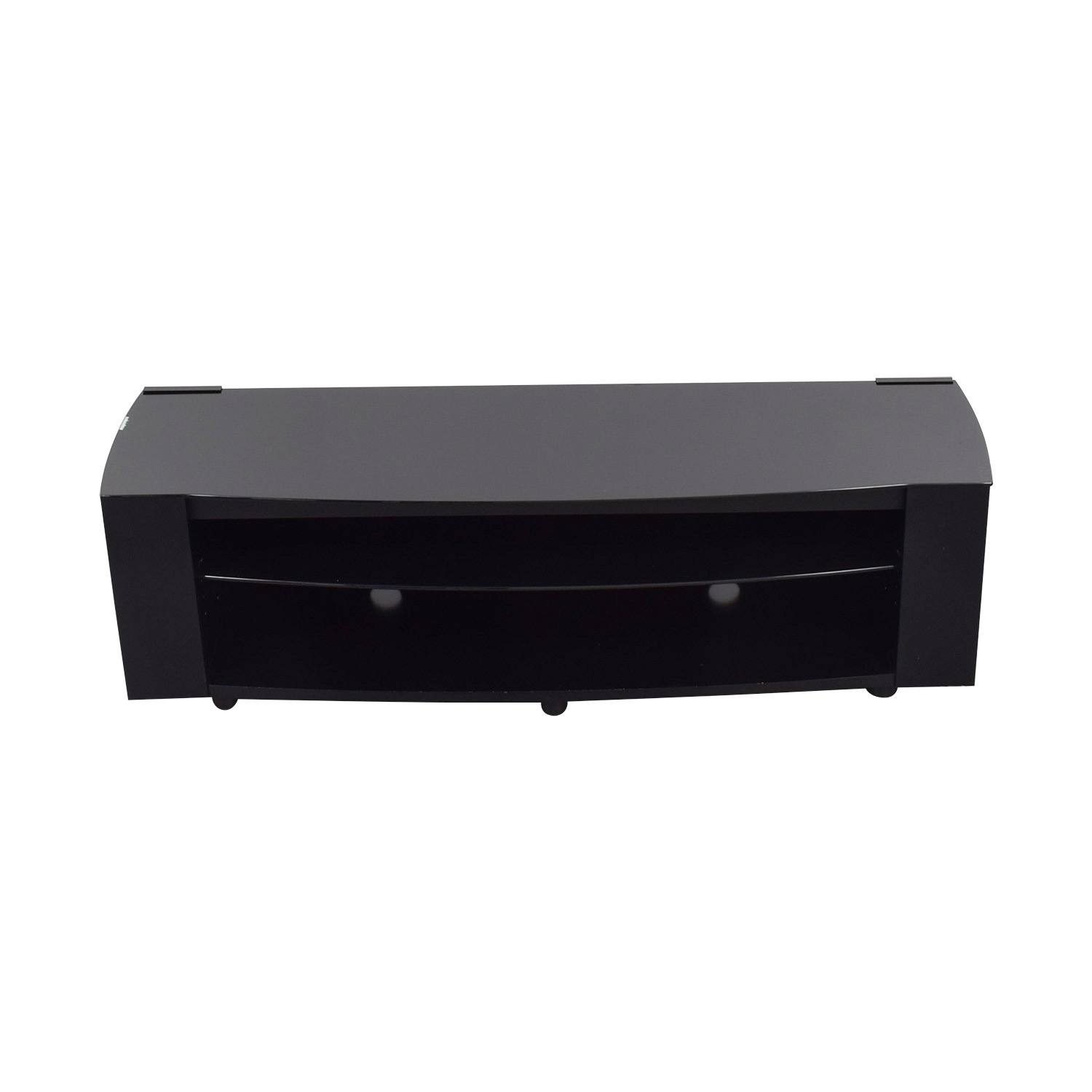 buy Black TV Console with Shelves Storage