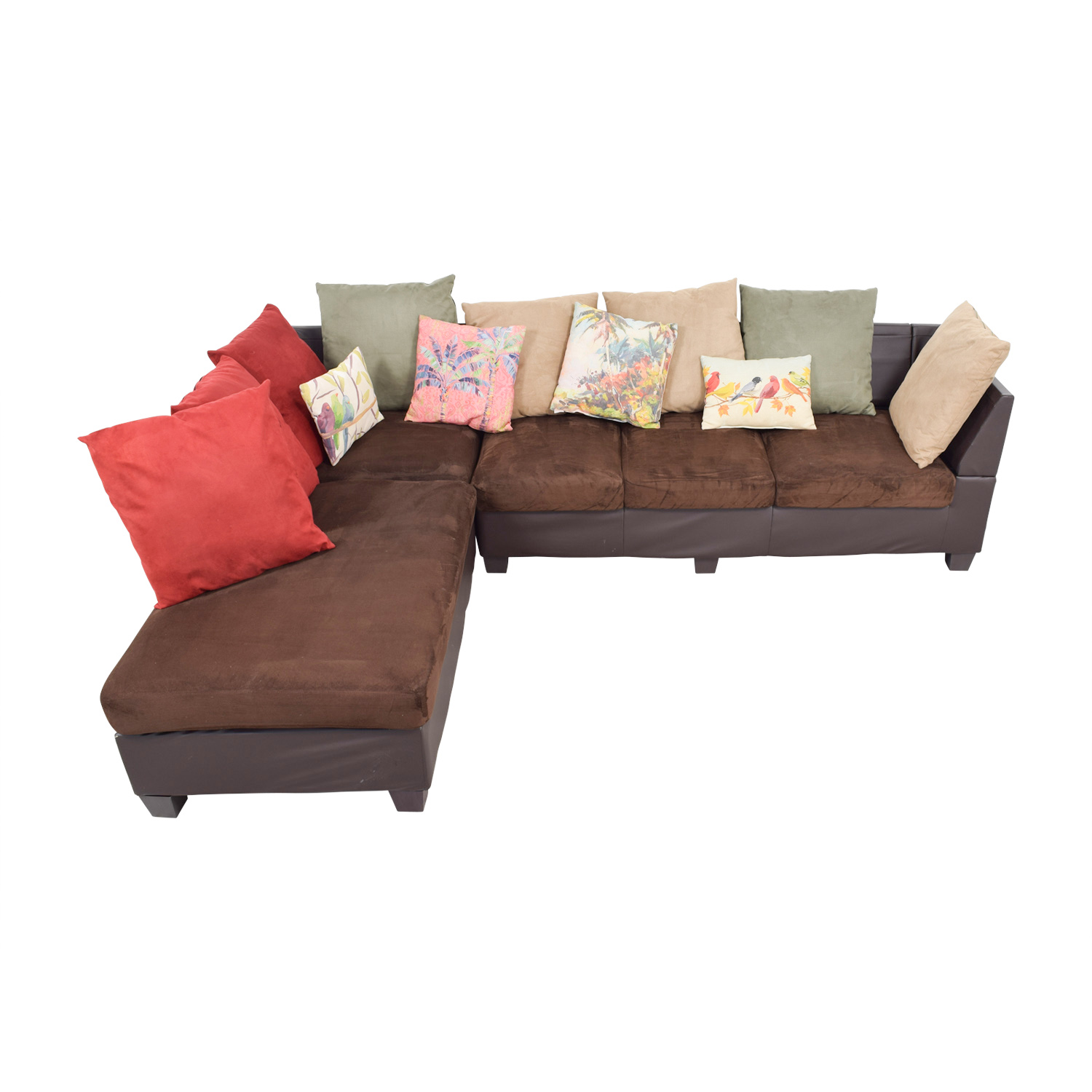 buy Downtown Furniture Downtown Furniture Brown Multi-Fabric L-Shapes Sectional with Toss Pillows online
