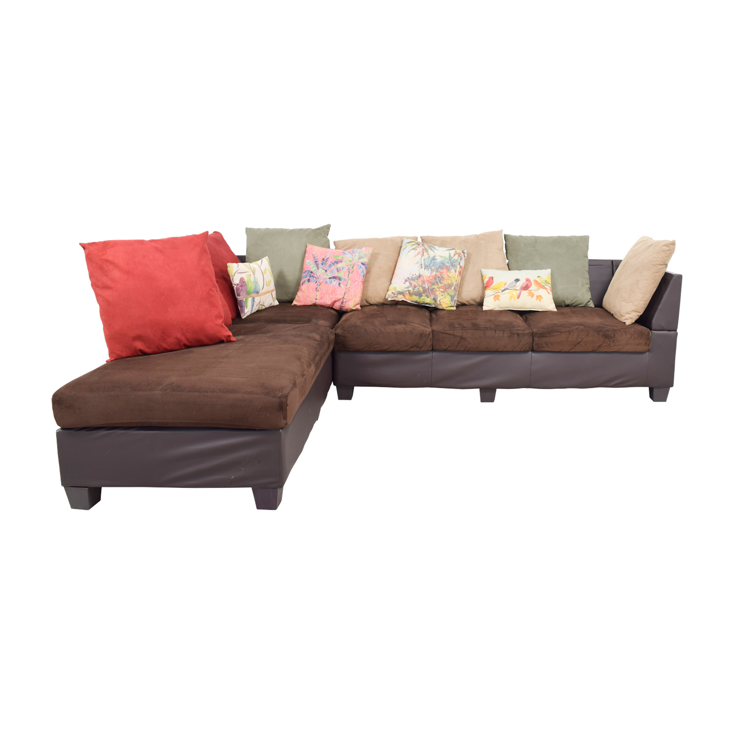 Downtown Furniture Downtown Furniture Brown Multi-Fabric L-Shapes Sectional with Toss Pillows nj