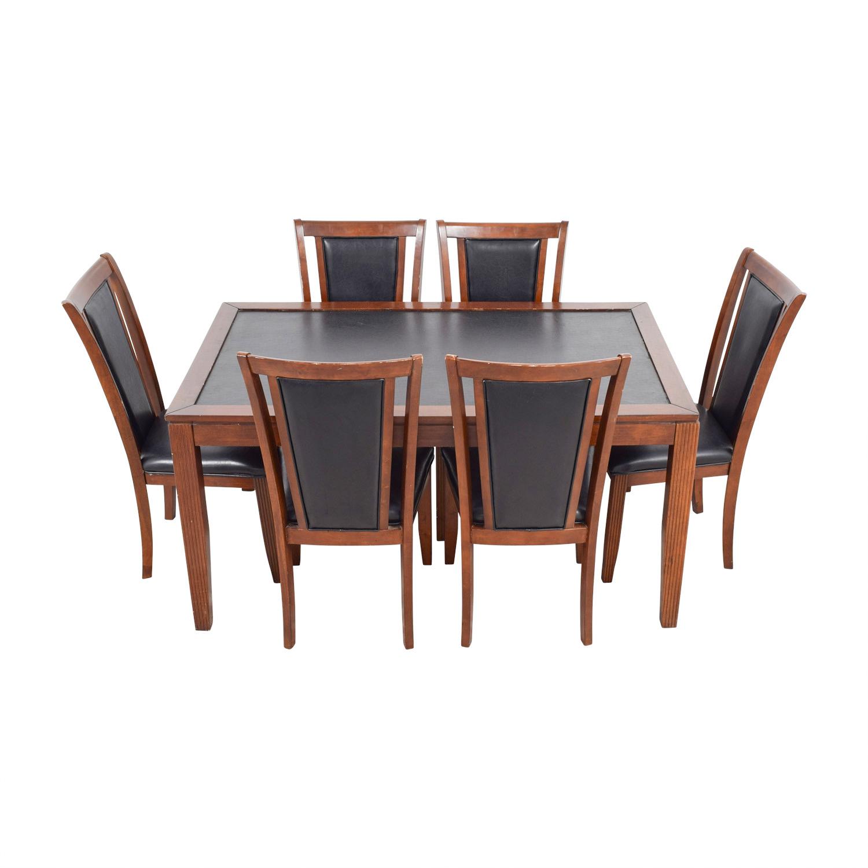 83% OFF   Bobu0027s Discount Furniture Bobu2019s Furniture Leather And Wood Dining  Set / Tables