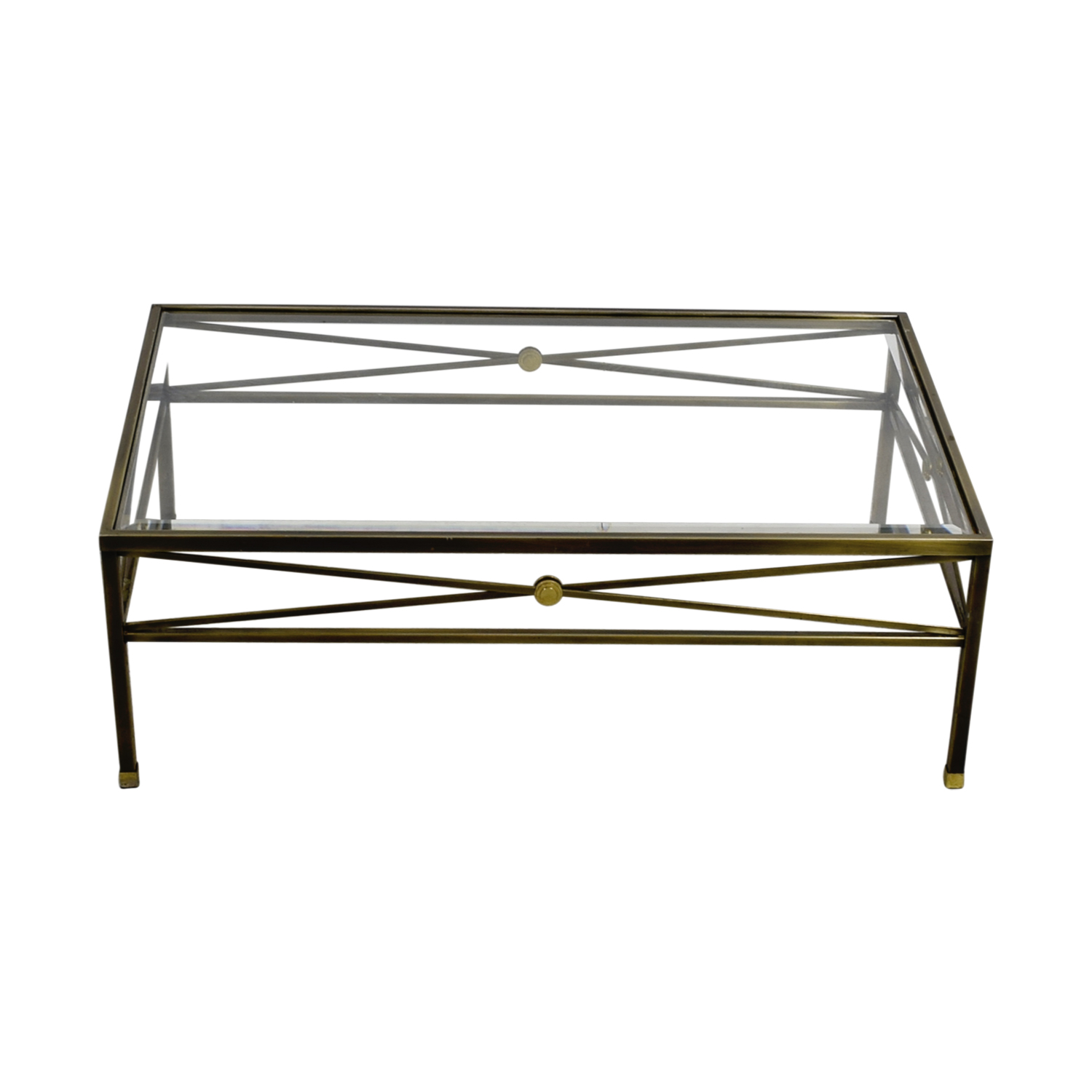 Macys Glass and Brass Coffee Table / Coffee Tables