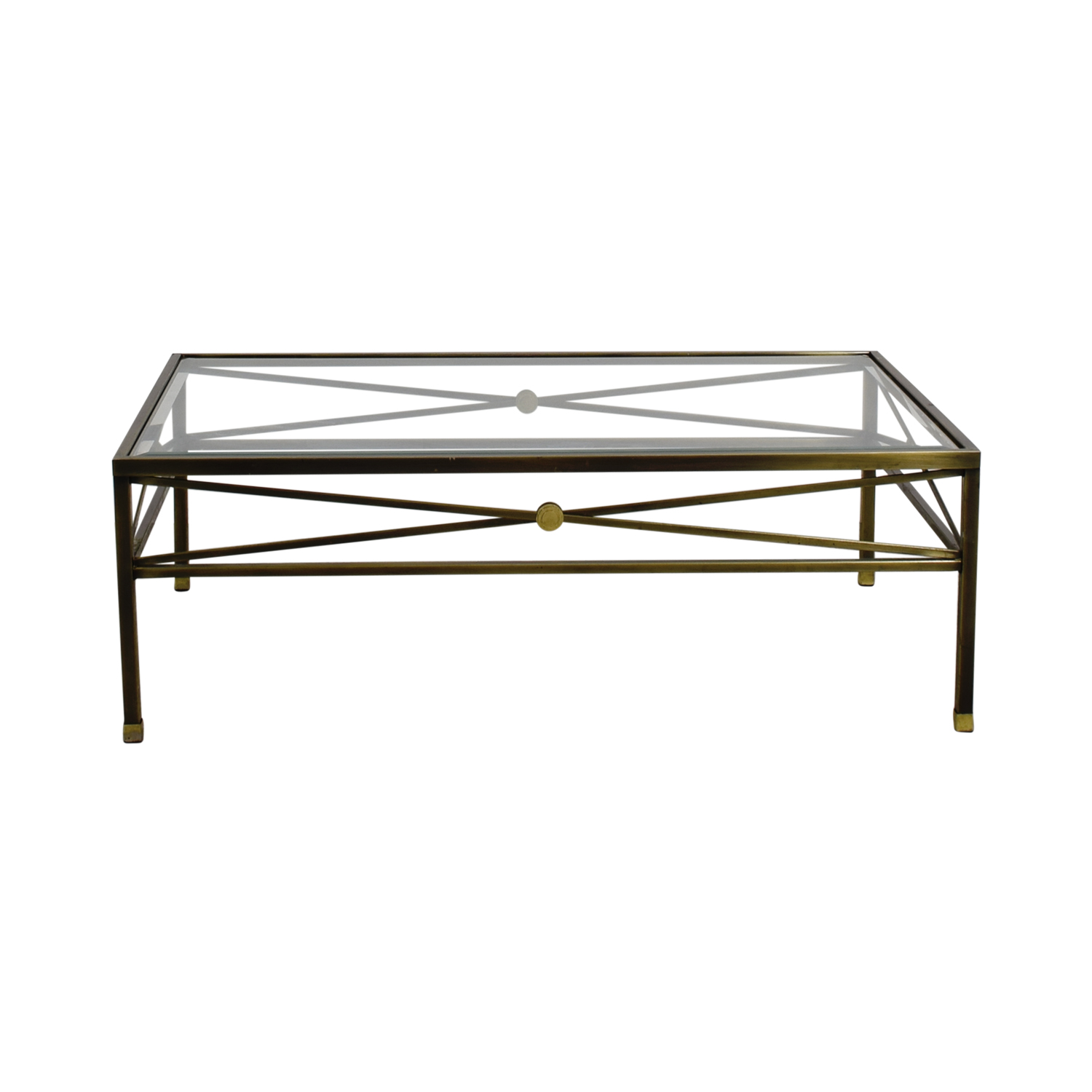 Macys Macys Glass and Brass Coffee Table gold