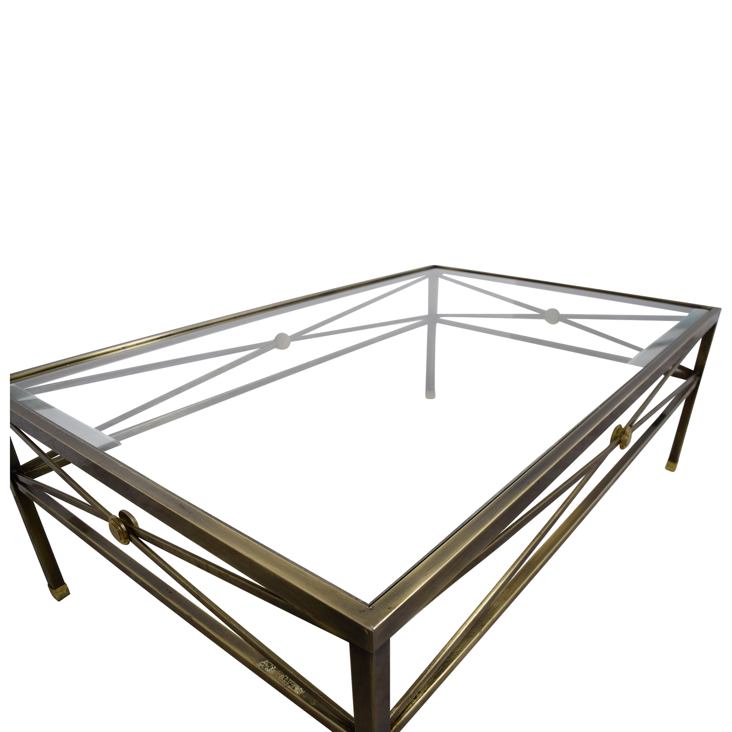74 Off Macy S Macy S Glass And Brass Coffee Table Tables