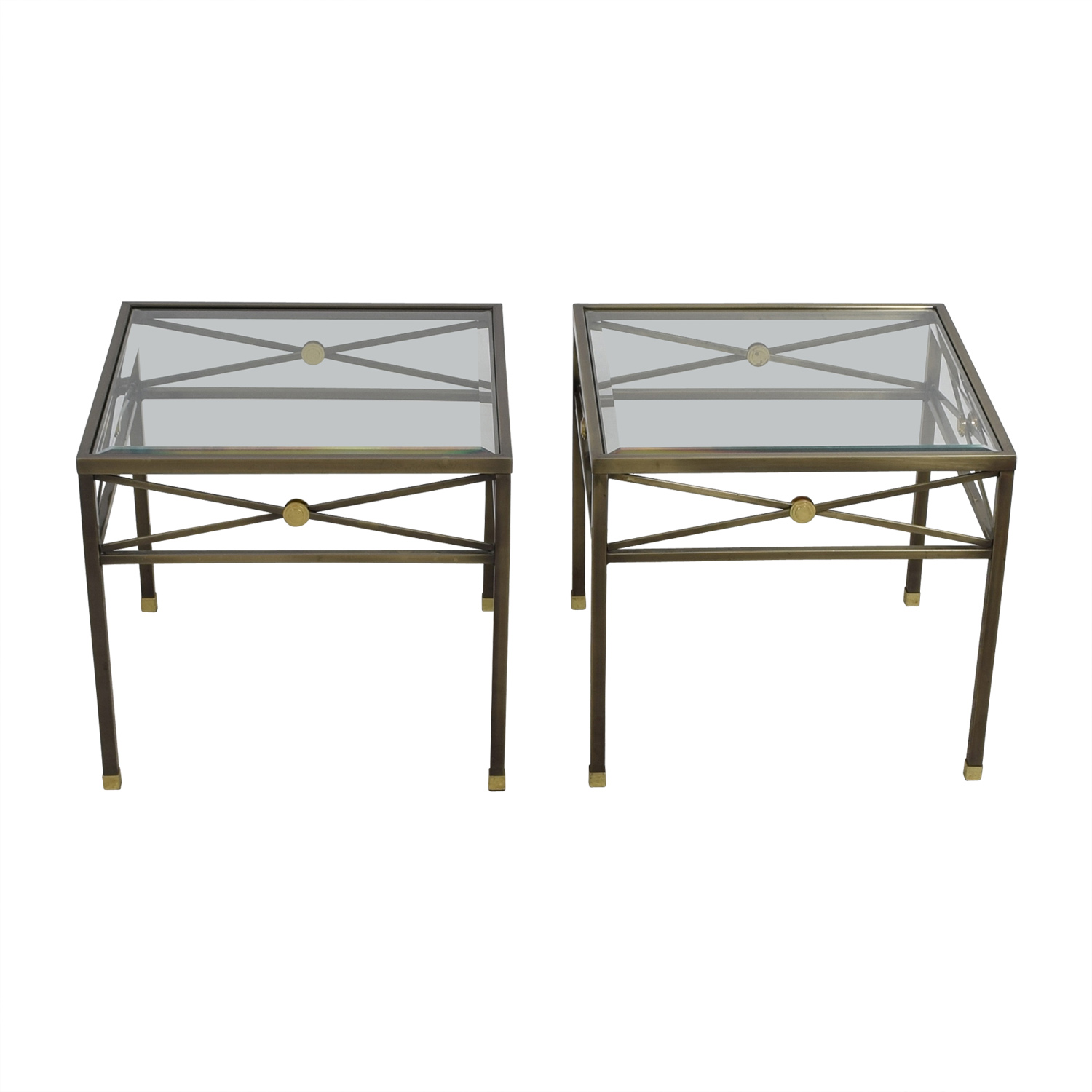 Macy's Macy's Glass and Brass Side Tables on sale