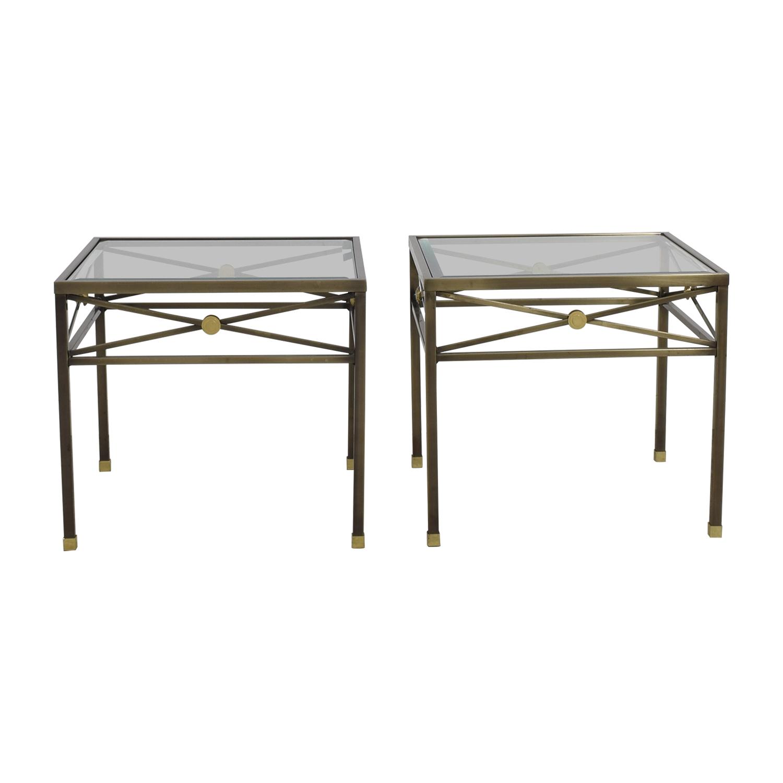 Macys Macys Glass and Brass Side Tables nyc
