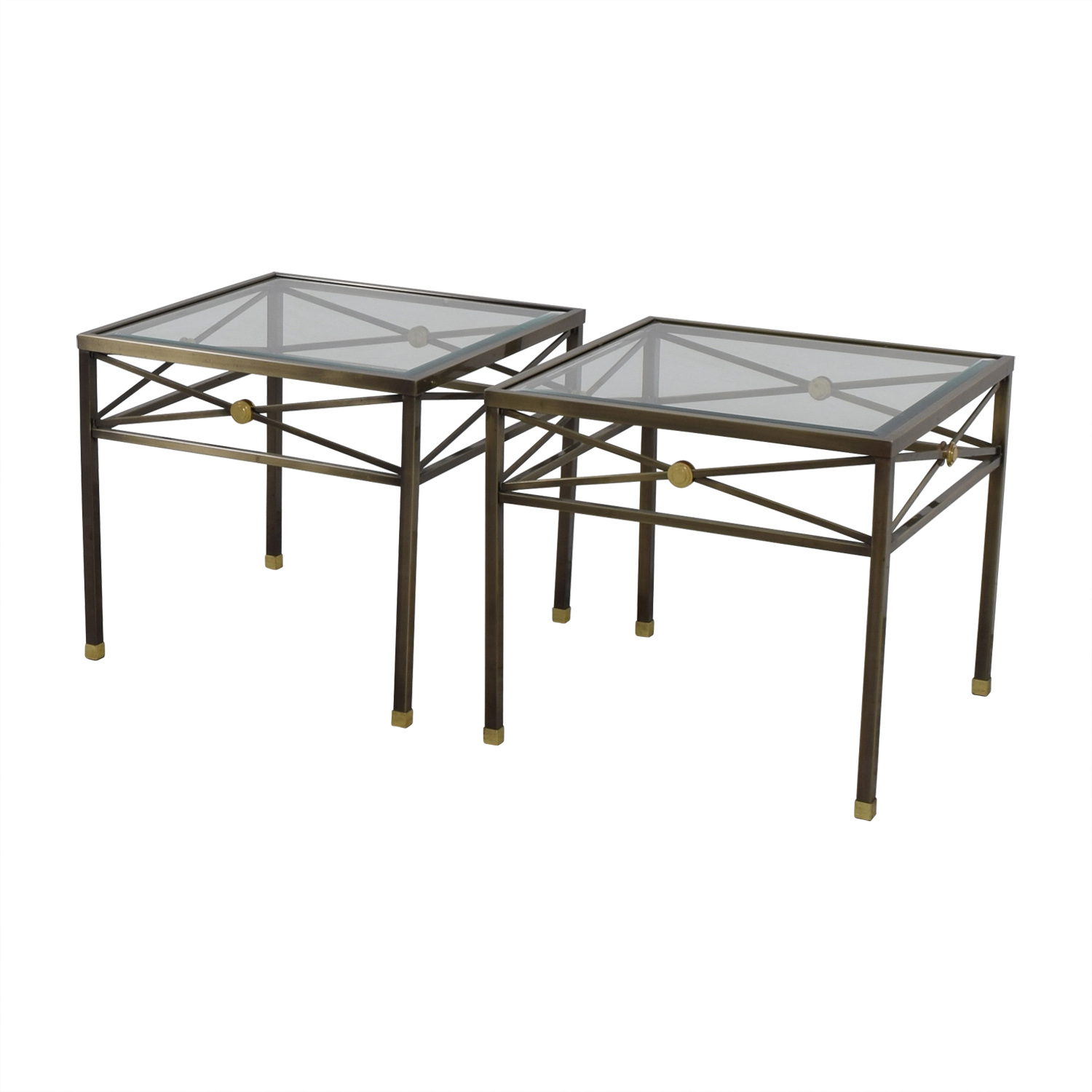 Glass Coffee Table Macys: Macy's Macy's Glass And Brass Side Tables / Tables