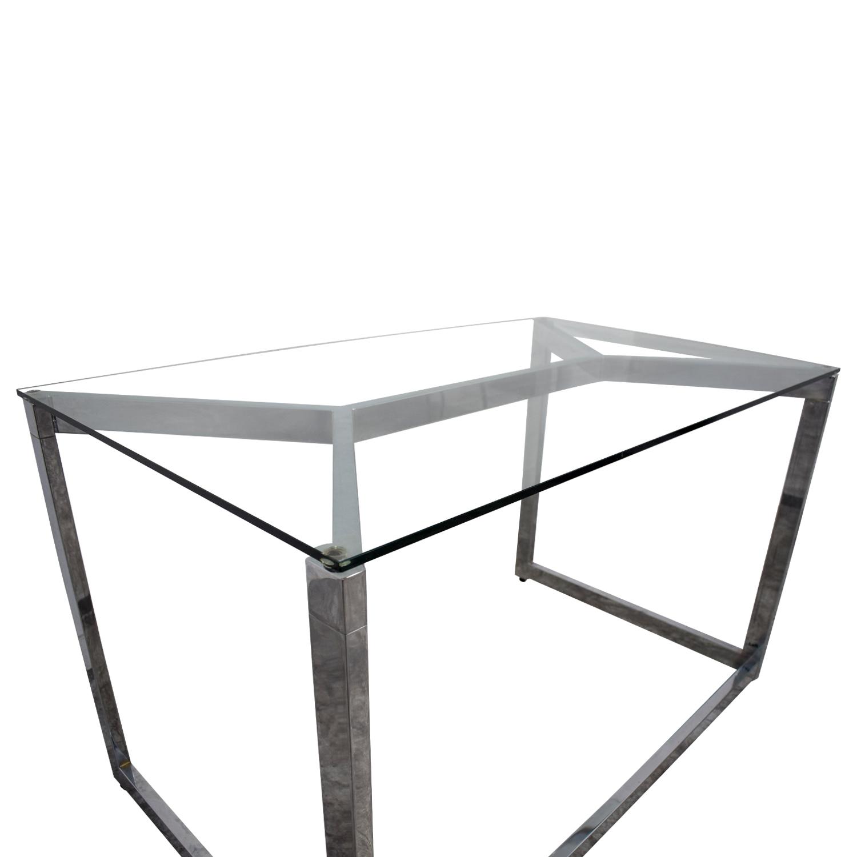 CB2 CB2 Glass and Chrome Office Desk Home Office Desks