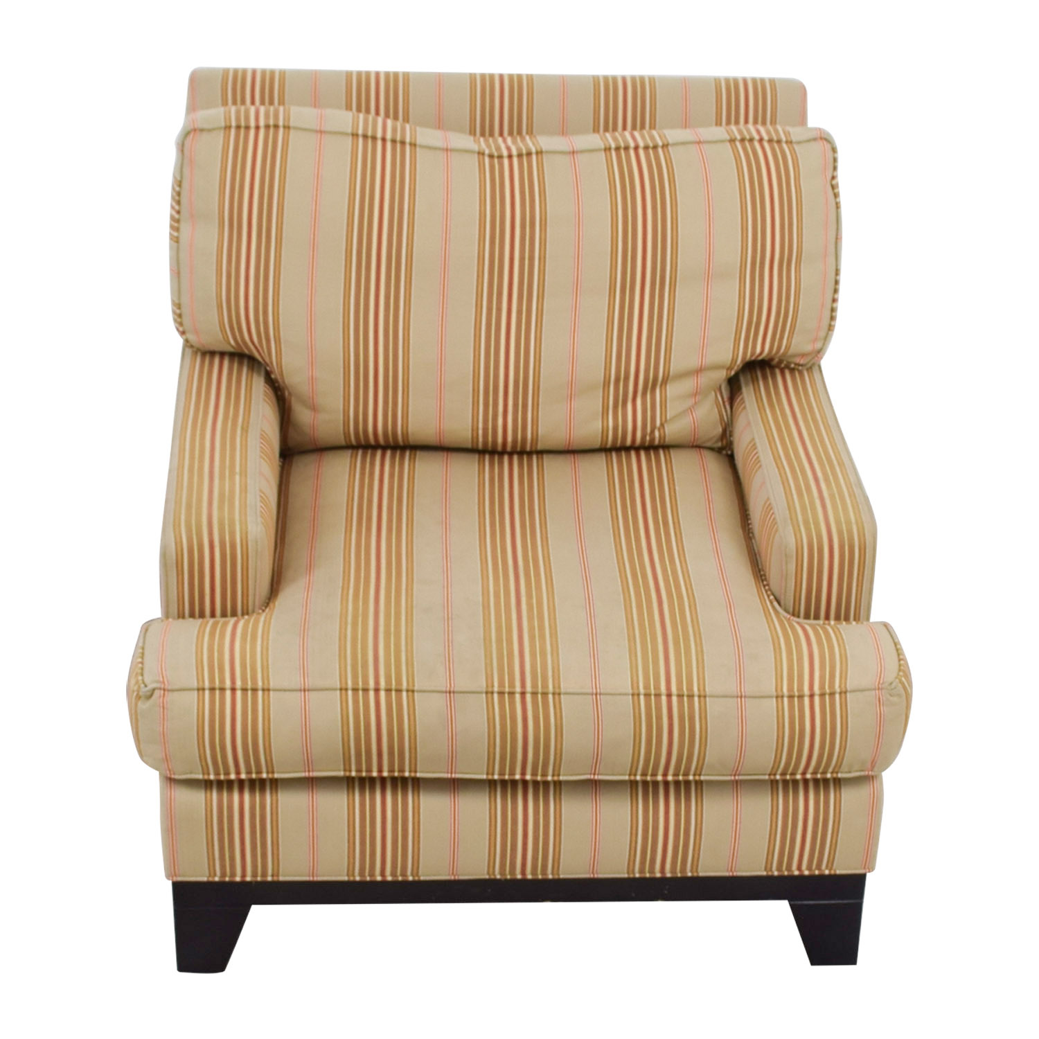 Ethan Allen Ethan Allen Beige Gold and Red Striped Arm Chair price