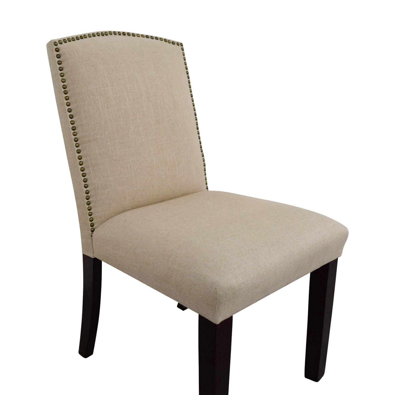 World Market Abbie Beige Linen Nailhead Dining Chair Used