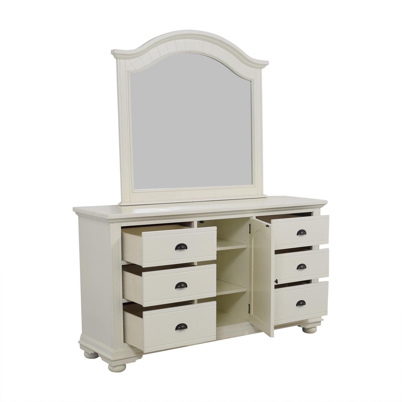 Bobs Furniture Bobs Furniture Vanilla Six-Drawer Dresser with Mirror on sale
