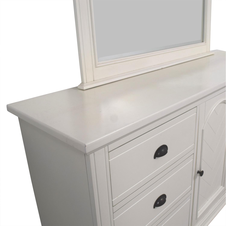 Bobs Furniture Vanilla Six-Drawer Dresser with Mirror Bobs Furniture