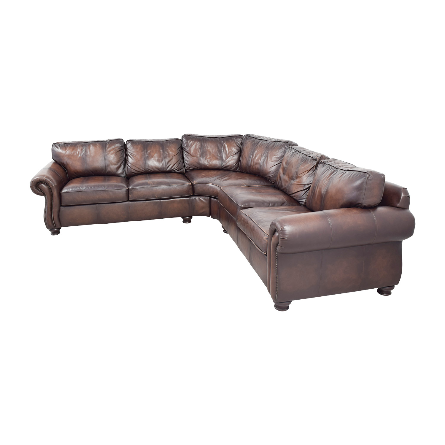 Raymour & Flanigan Raymour & Flanigan Brown Leather Sectional on sale
