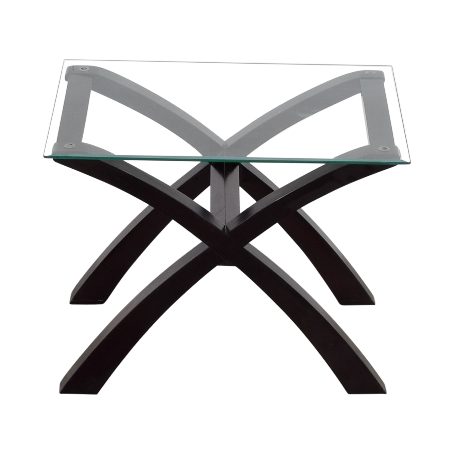 Glass and Wood Side Table / End Tables