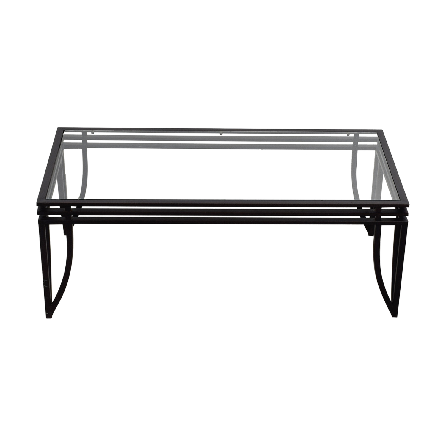 Glass and Metal Coffee Table BLACK/GOLDEN