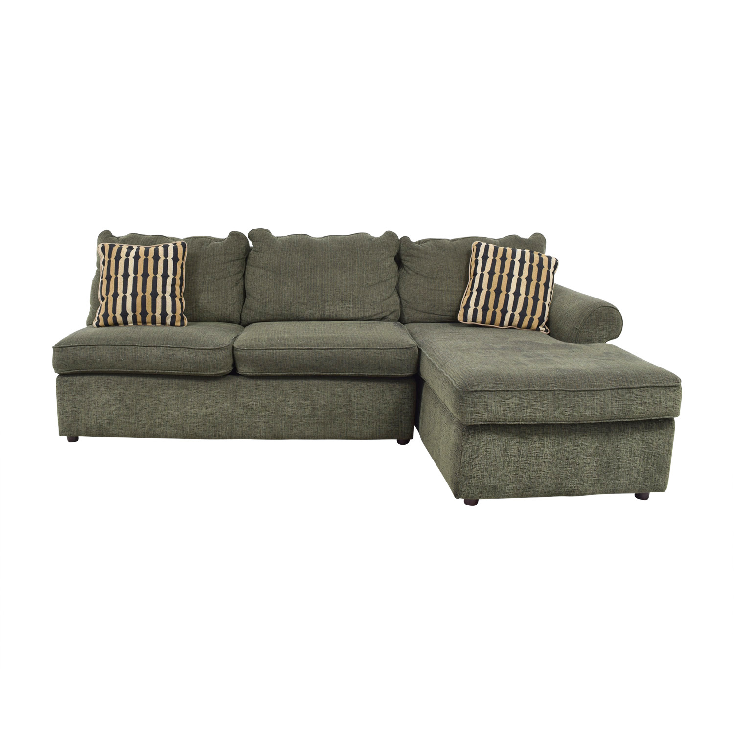 OFF LaZBoy LaZBoy Forest Green LShaped Sectional Couch - La z boy chaise sofa