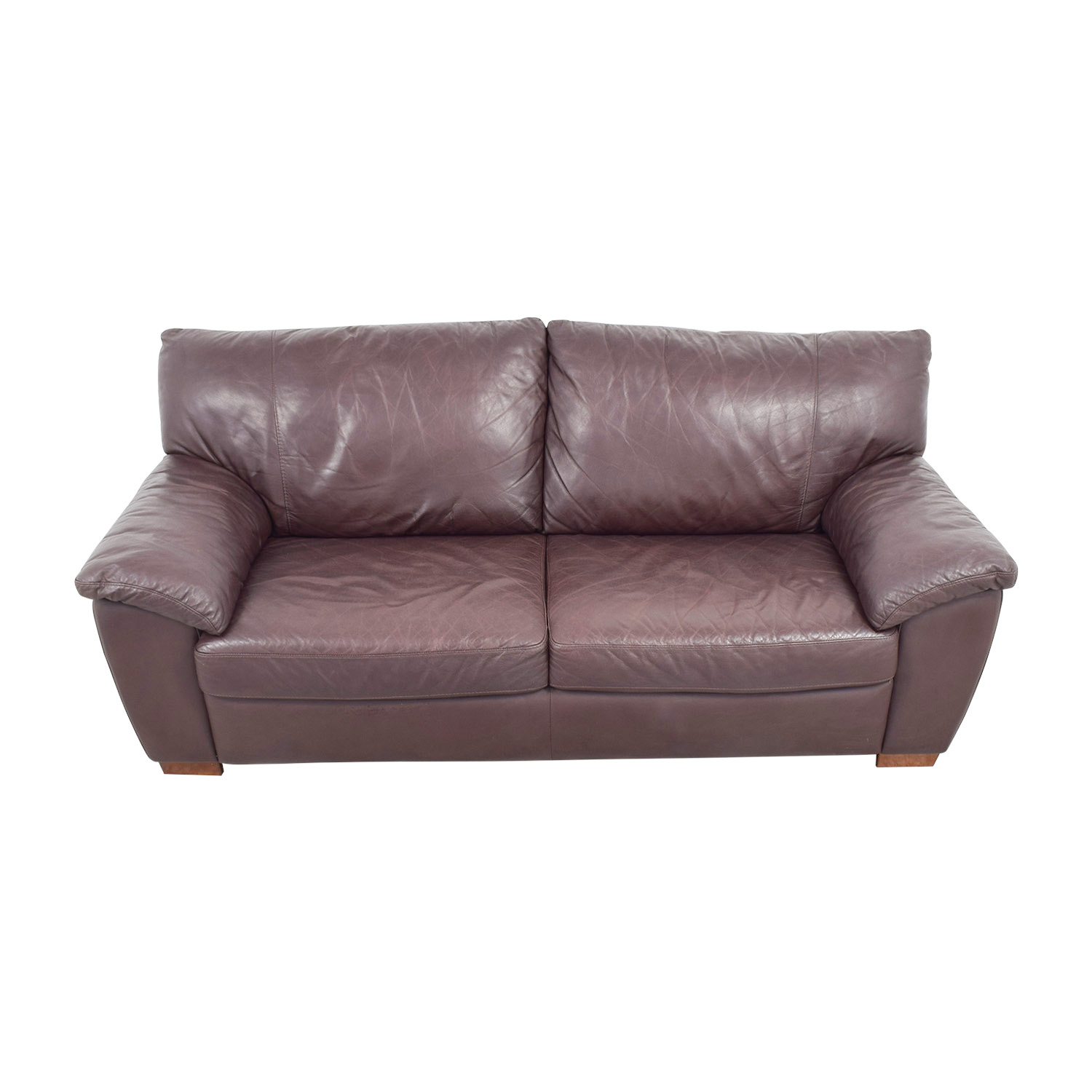 Ikea Vreta Brown Leather Two Cushion Sofa Sofas