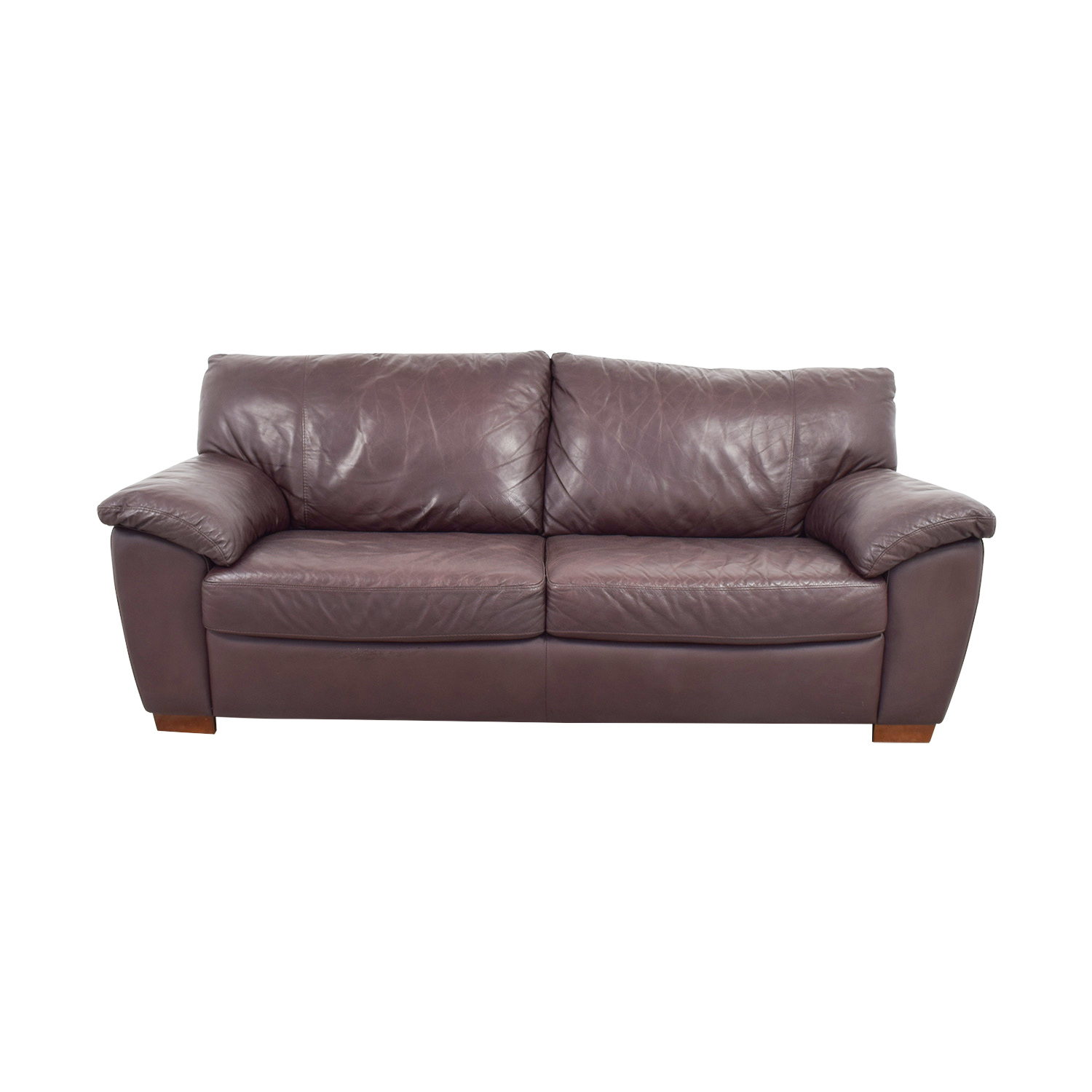 87 Off Ikea Ikea Vreta Brown Leather Two Cushion Sofa Sofas