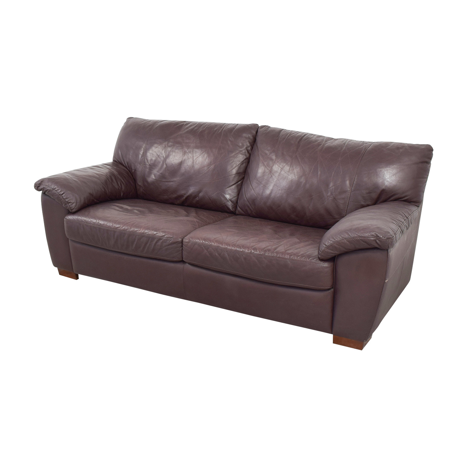 87 off ikea ikea vreta brown leather two cushion sofa for Ikea sofa set