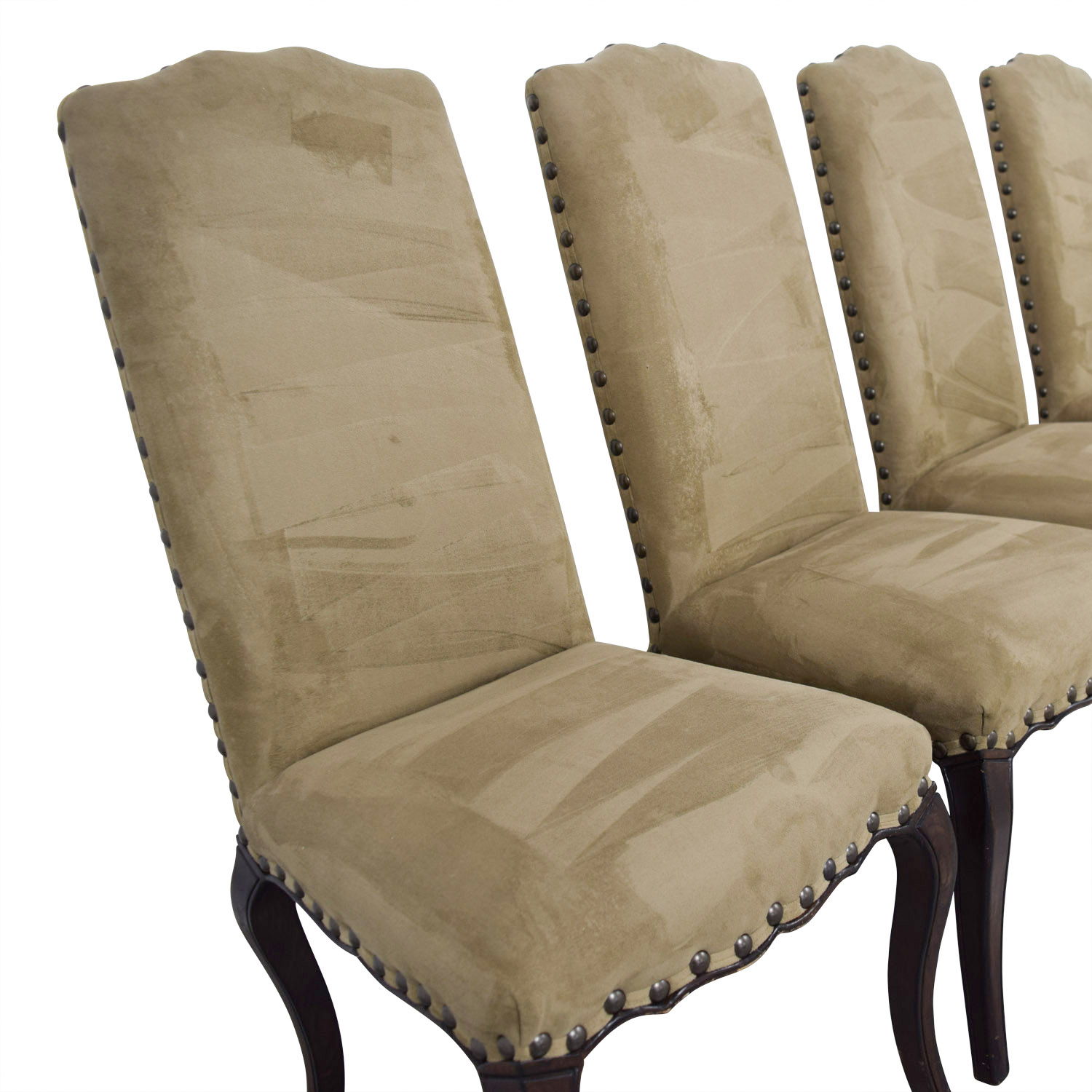 90% OFF - Pottery Barn Pottery Barn Calais Microsuede Tan Nailhead Dining  Chairs / Chairs