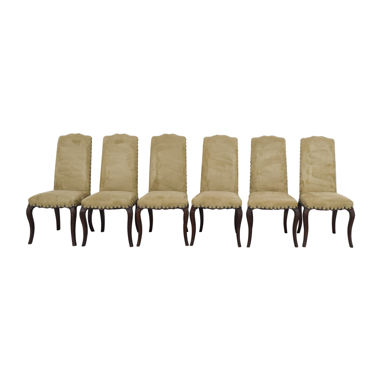 Cool 90 Off Pottery Barn Pottery Barn Calais Microsuede Tan Nailhead Dining Chairs Chairs Caraccident5 Cool Chair Designs And Ideas Caraccident5Info