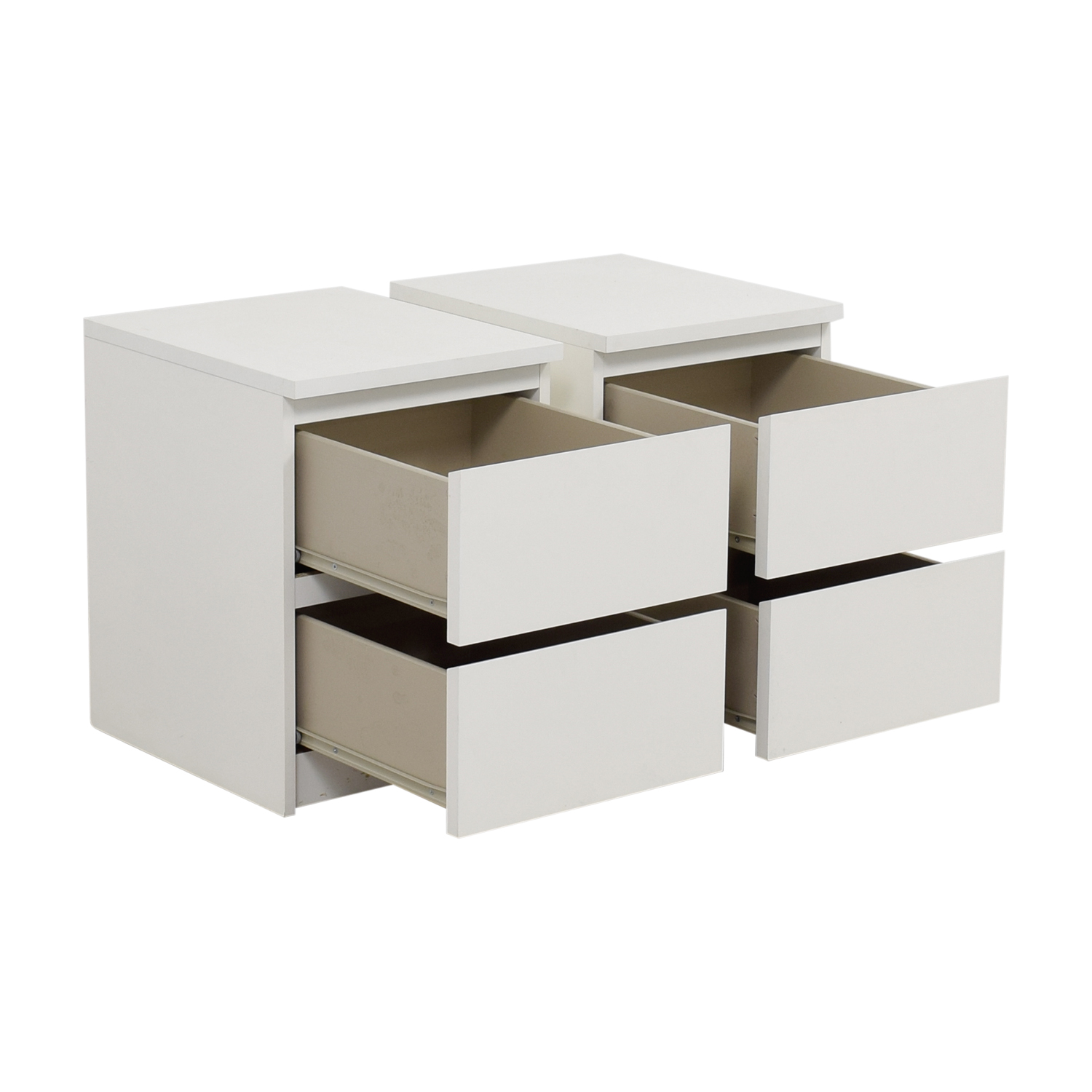 IKEA IKEA White Two-Drawer End Tables / Tables