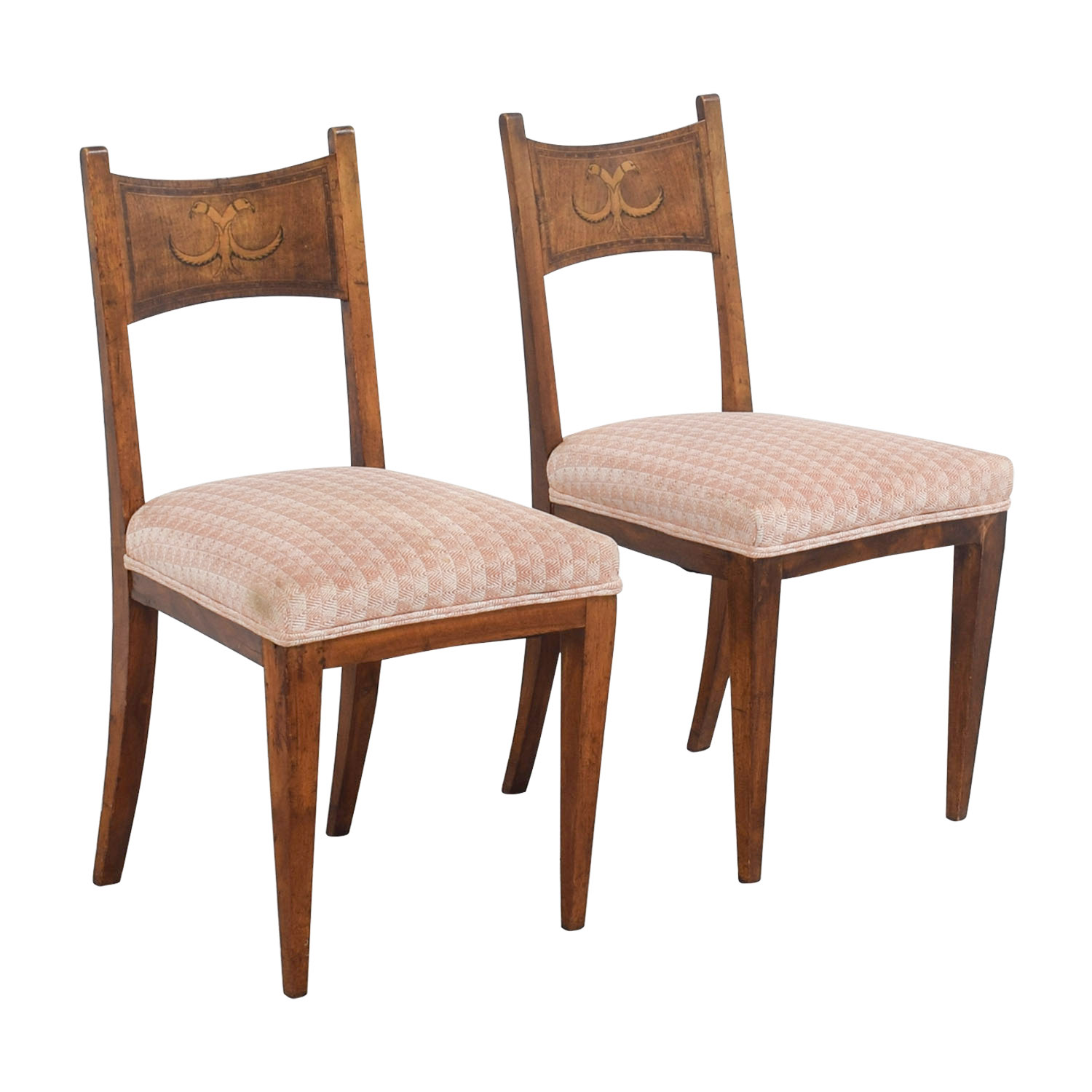 ... buy Antique Pink Upholstered Chairs with Bird Wood Inlay Chairs ... - 83% OFF - Antique Pink Upholstered Chairs With Bird Wood Inlay / Chairs