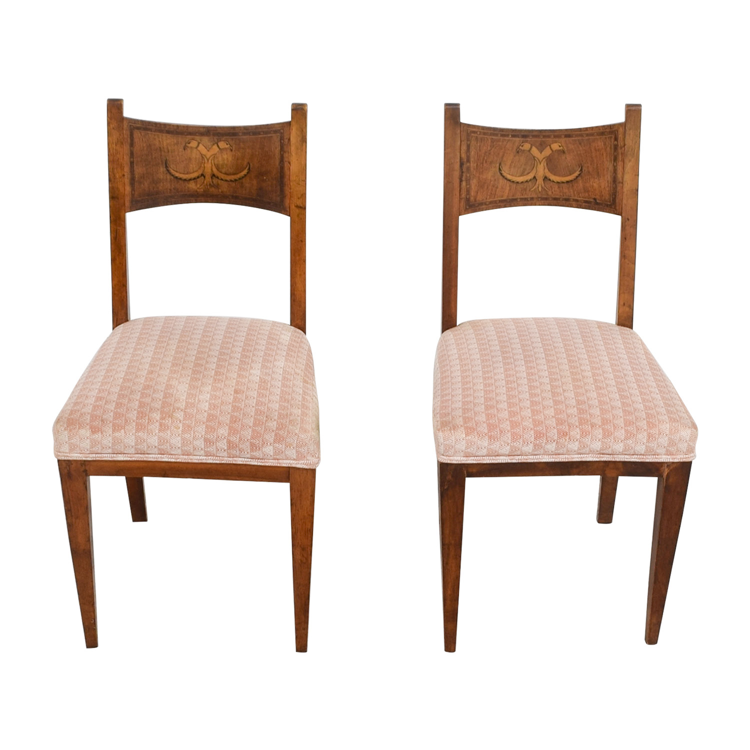 Well-liked 90% OFF - Antique Pink Upholstered Chairs with Bird Wood Inlay  UW63