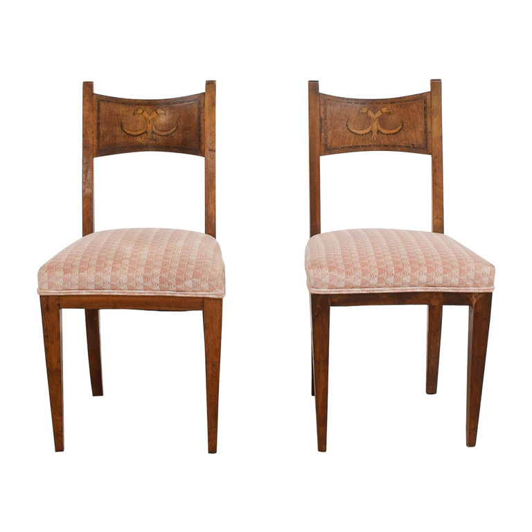Antique Pink Upholstered Chairs with Bird Wood Inlay sale