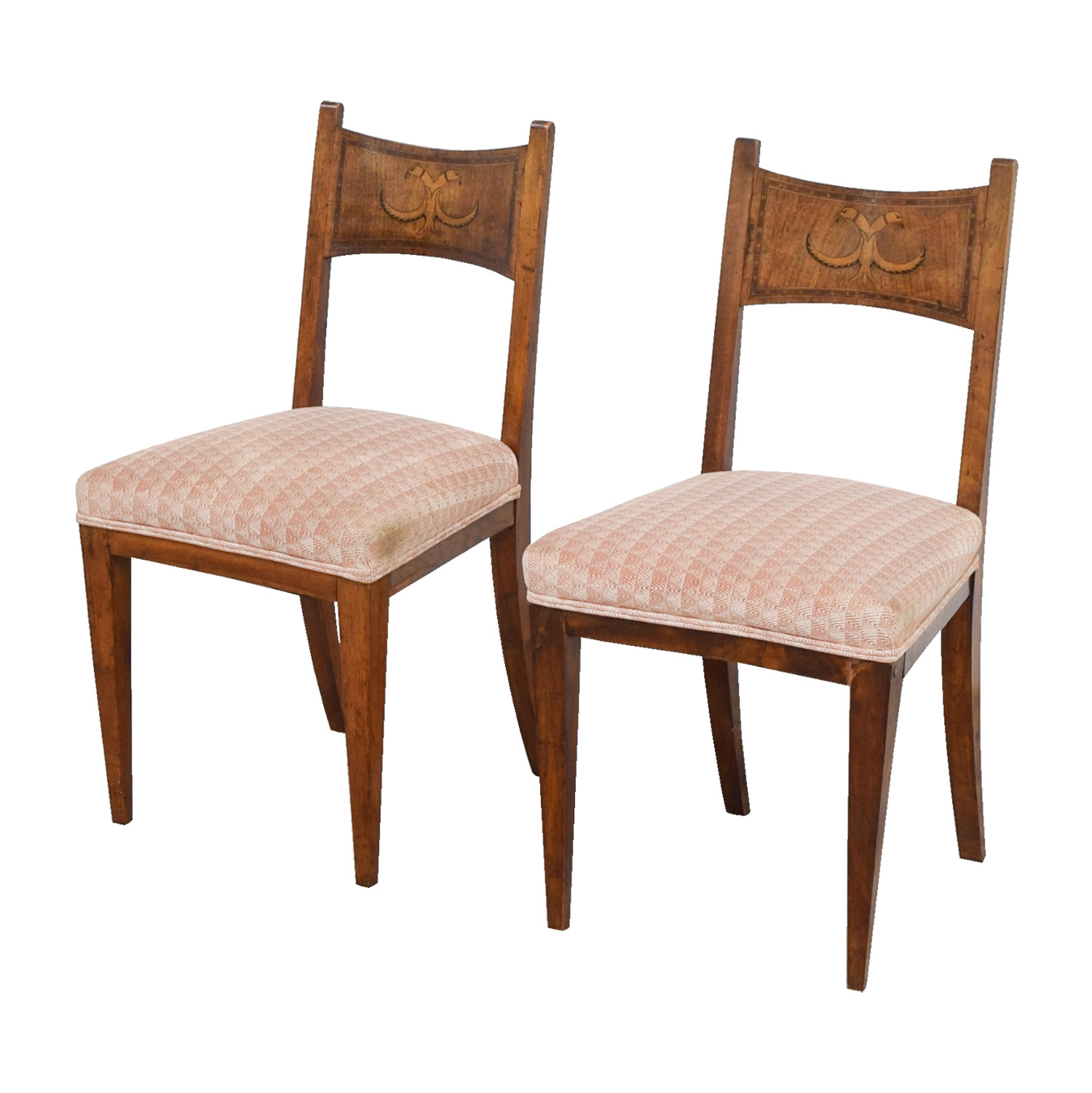 ... Buy Antique Pink Upholstered Chairs With Bird Wood Inlay ...