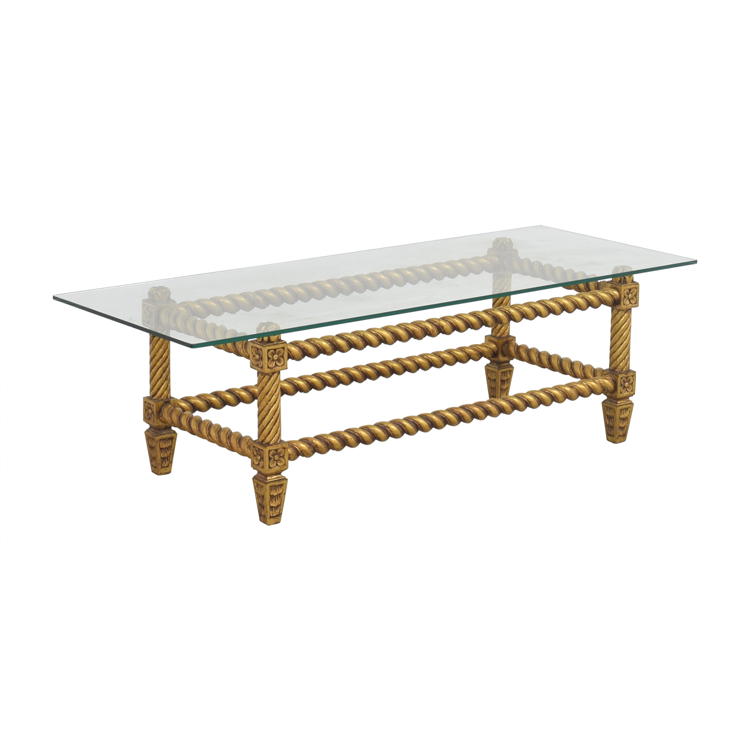 Antique Gold Coffee Table: Antique Glass And Gold Framed Coffee Table / Tables