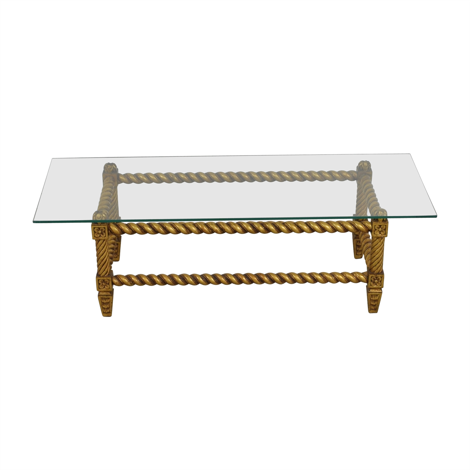 Antique Gold And Glass Coffee Table: Antique Glass And Gold Framed Coffee Table / Tables