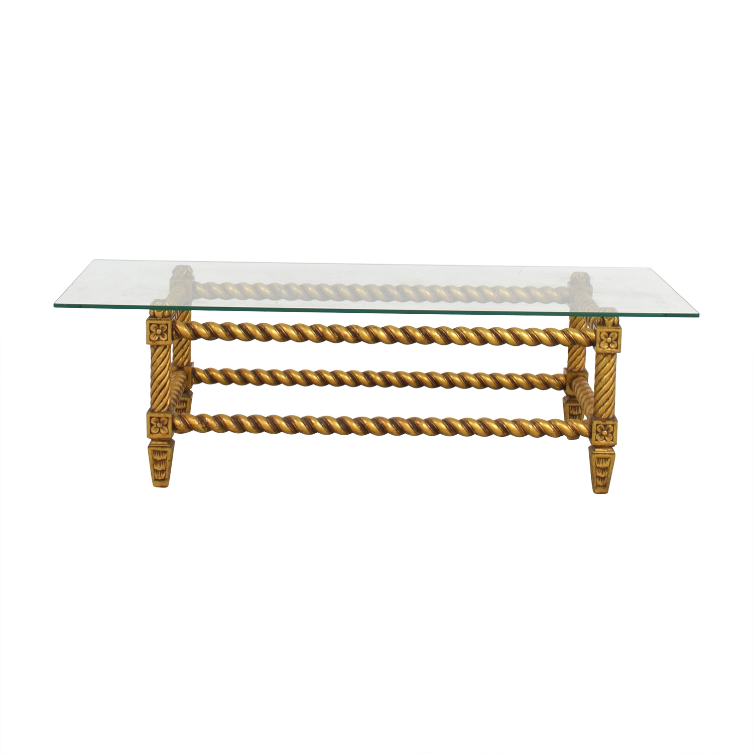 Antique Glass and Gold Framed Coffee Table