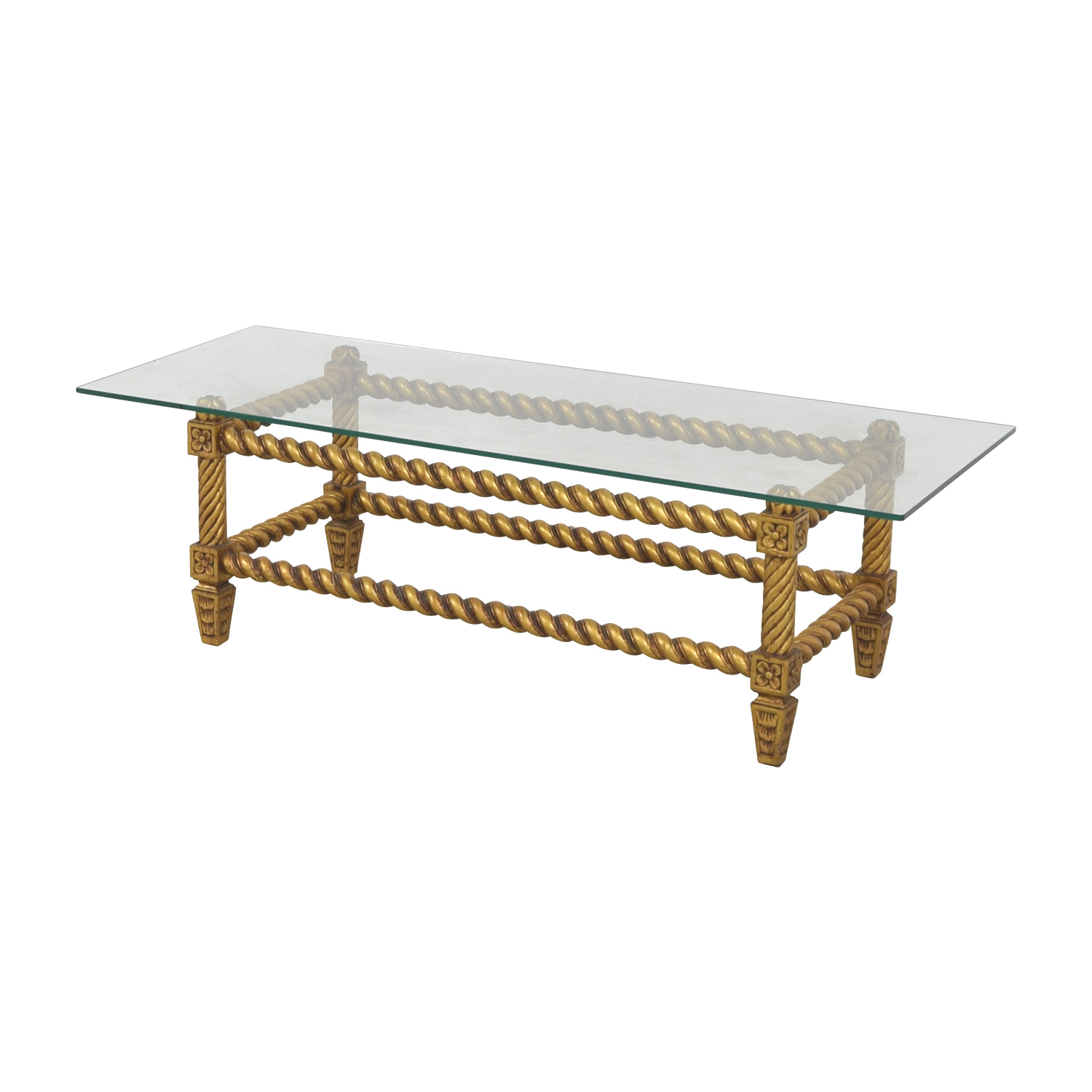 52 Off Antique Glass And Gold Framed Coffee Table Tables