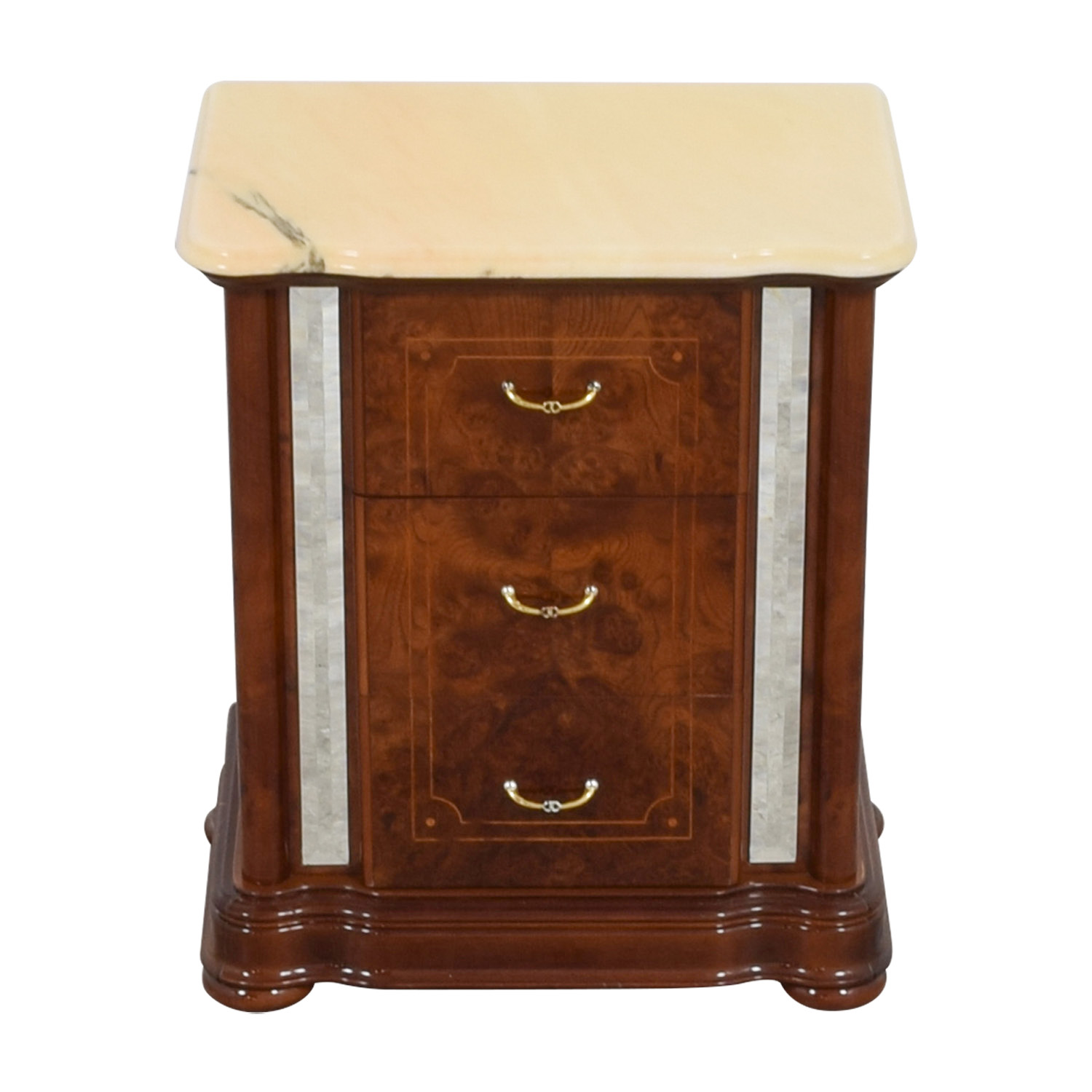 buy Marble Top and Mirrored Side Nightstand