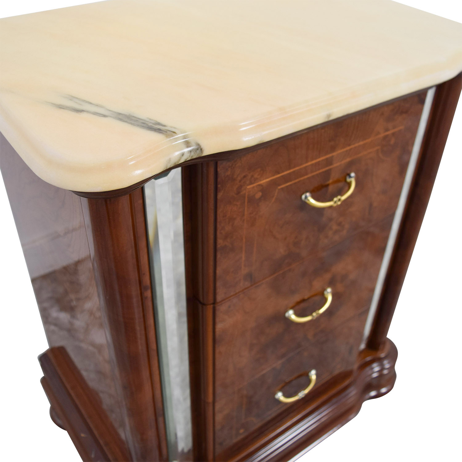 90 Off Marble Top And Mirrored Side Nightstand Tables