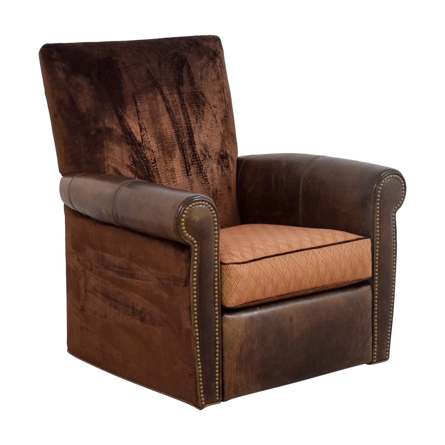 Arhaus Arhaus Brown Leather and Velvet Nailhead Swivel Recliner brown