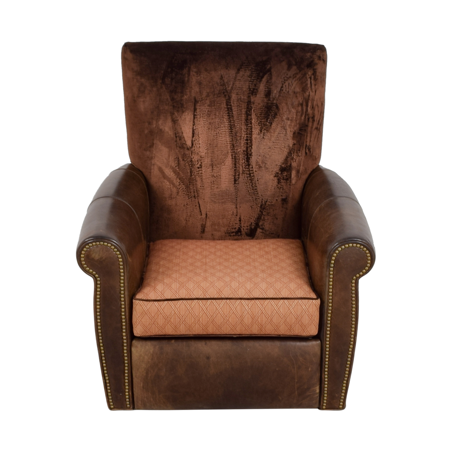 Arhaus Arhaus Brown Leather and Velvet Nailhead Swivel Recliner for sale