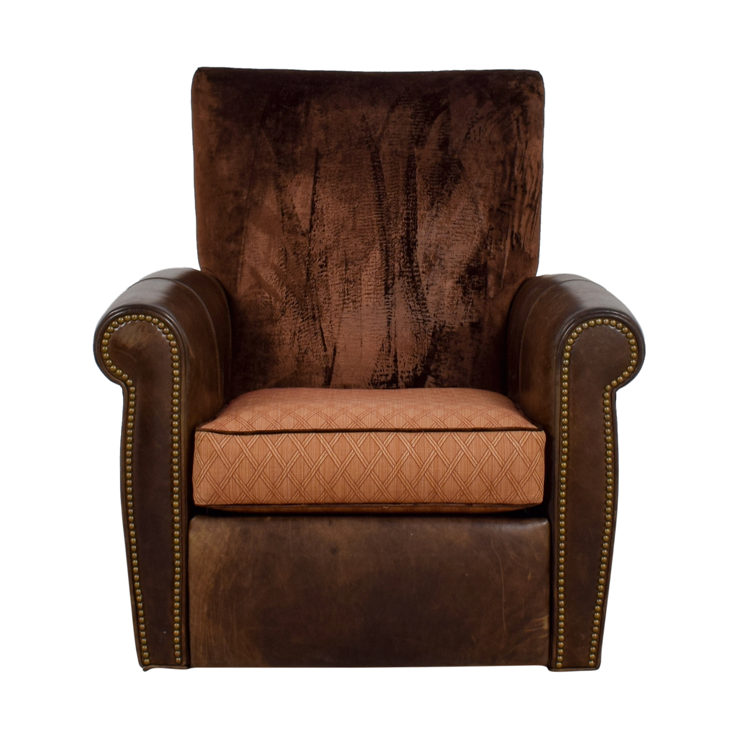 Arhaus Brown Leather and Velvet Nailhead Swivel Recliner sale