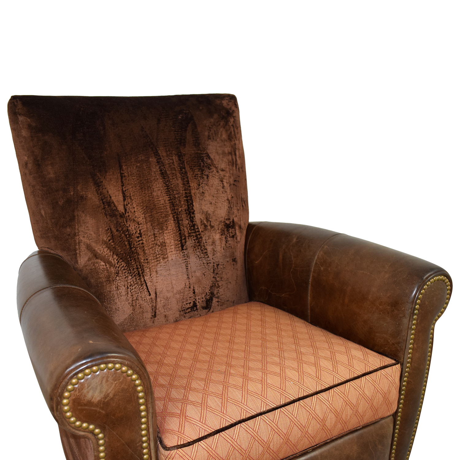 shop Arhaus Brown Leather and Velvet Nailhead Swivel Recliner Arhaus