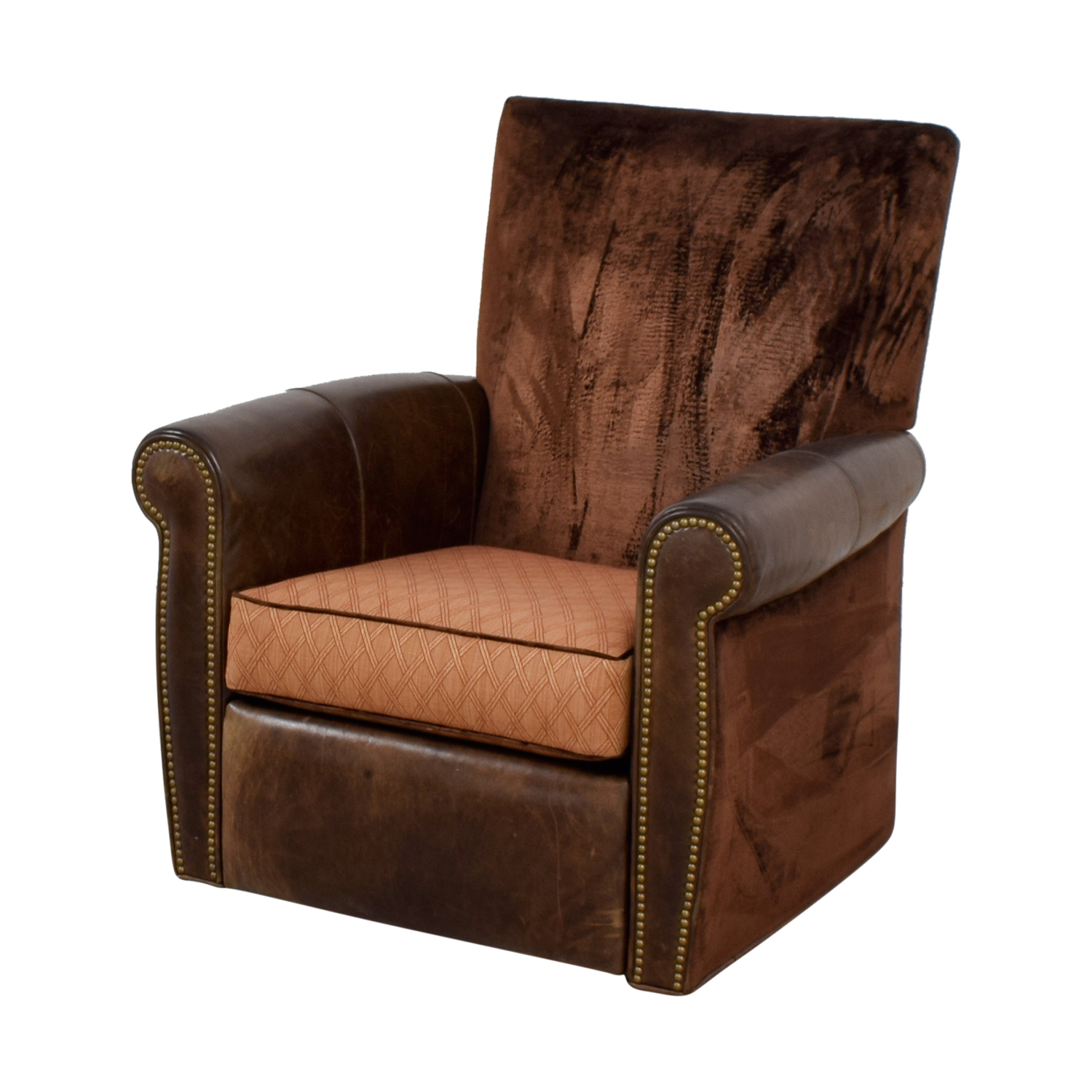 Arhaus Arhaus Brown Leather and Velvet Nailhead Swivel Recliner dimensions