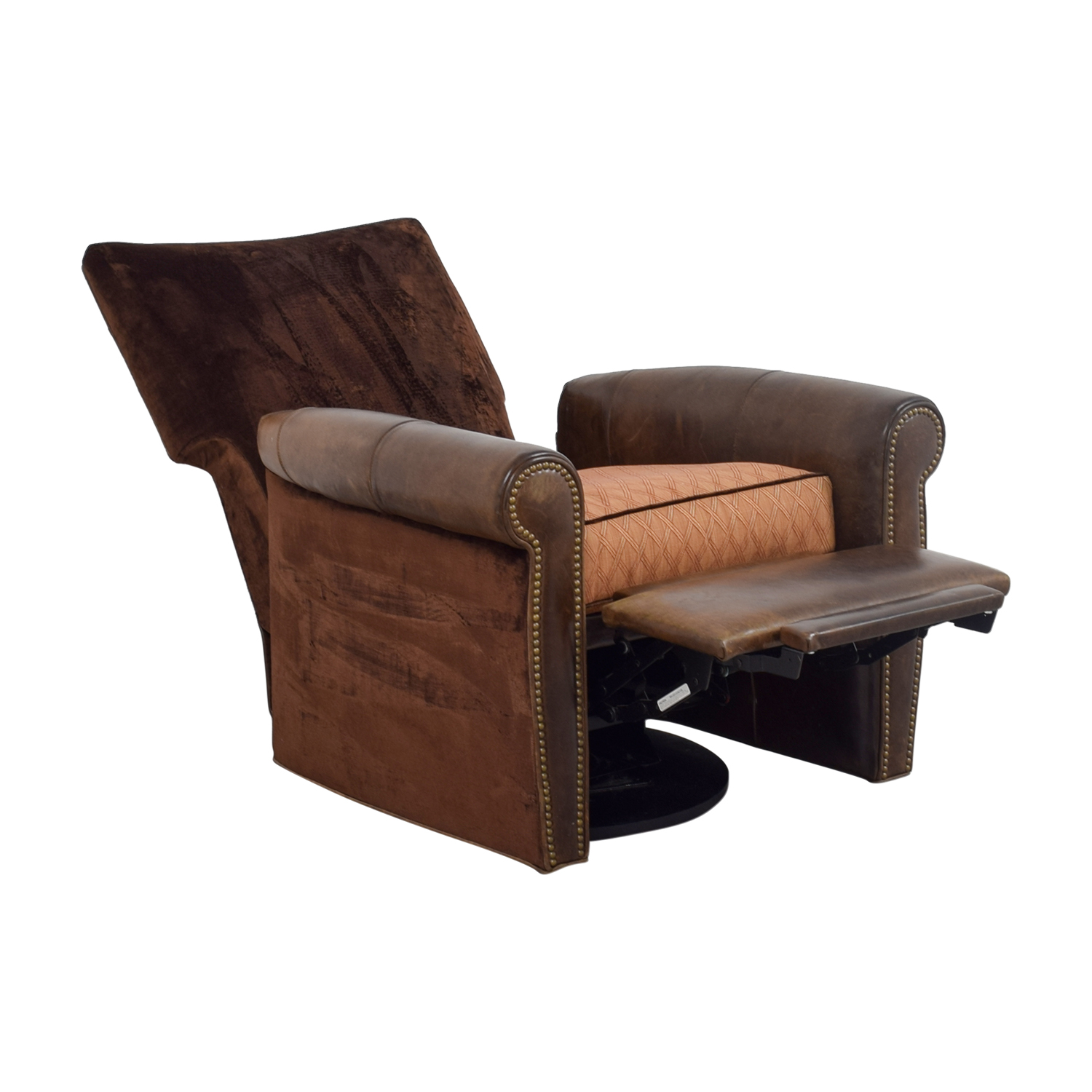 buy Arhaus Arhaus Brown Leather and Velvet Nailhead Swivel Recliner online