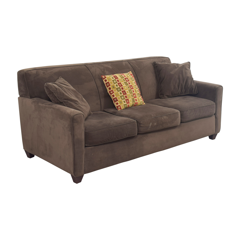 40 Off Raymour Flanigan Raymour Flanigan Brown Three Cushion Sofa Sofas