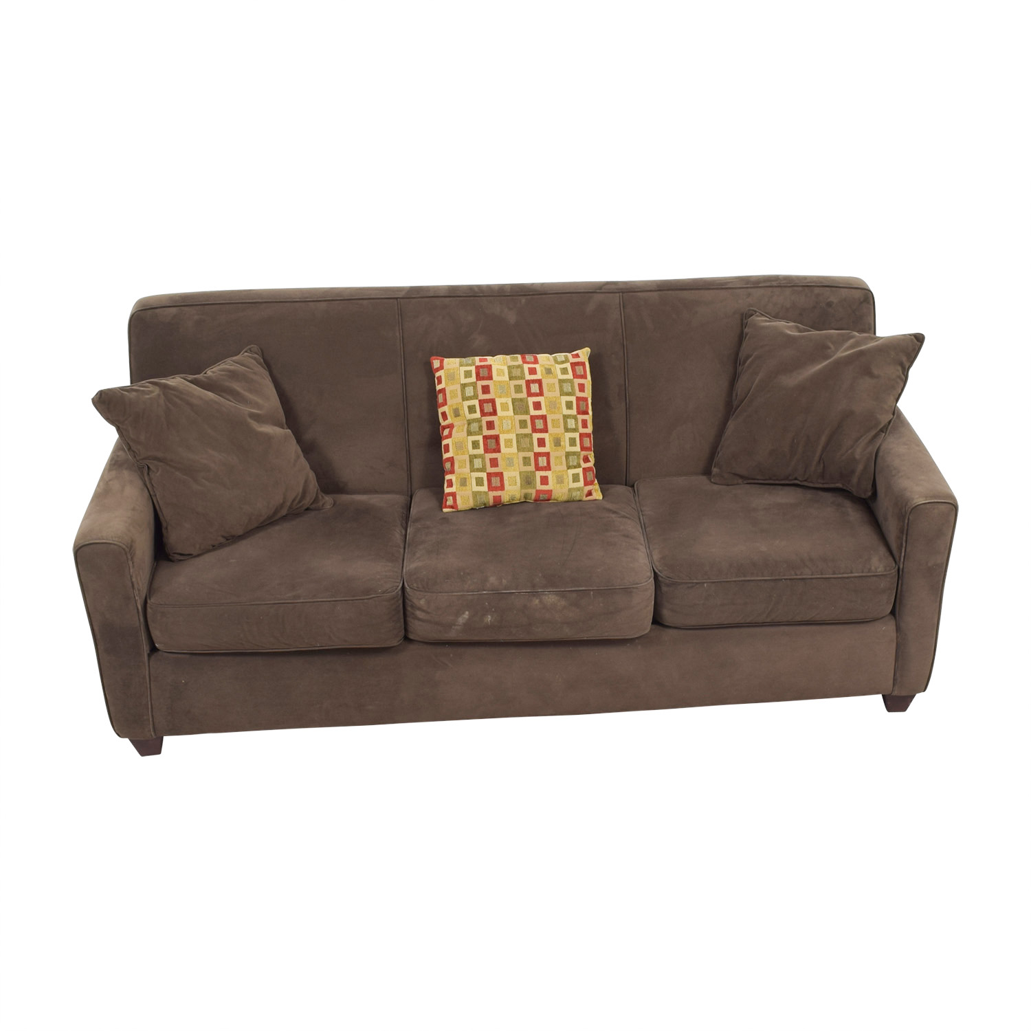 Raymour & Flanigan Brown Three-Cushion Sofa / Classic Sofas