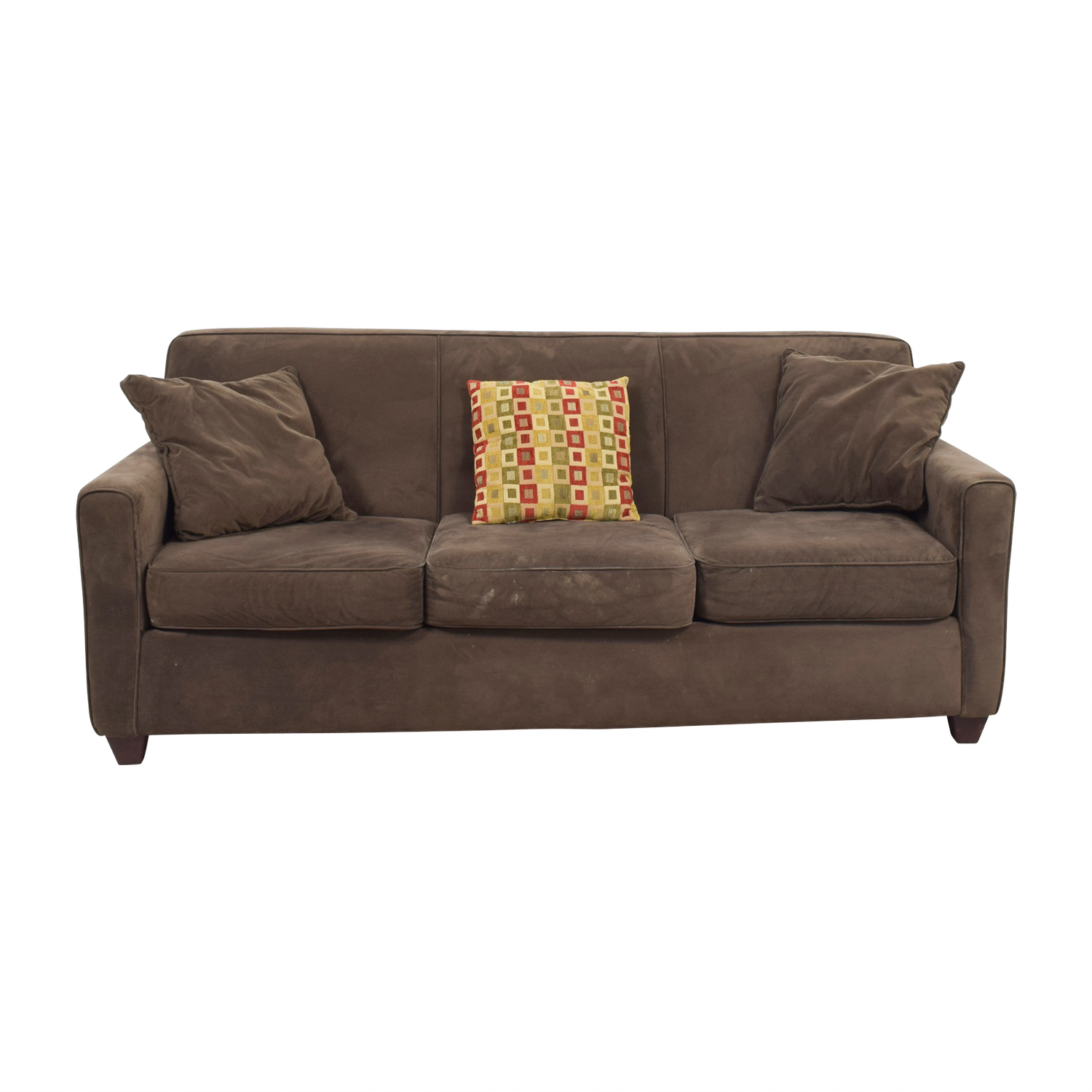 buy Raymour & Flanigan Brown Three-Cushion Sofa Raymour & Flanigan Classic Sofas