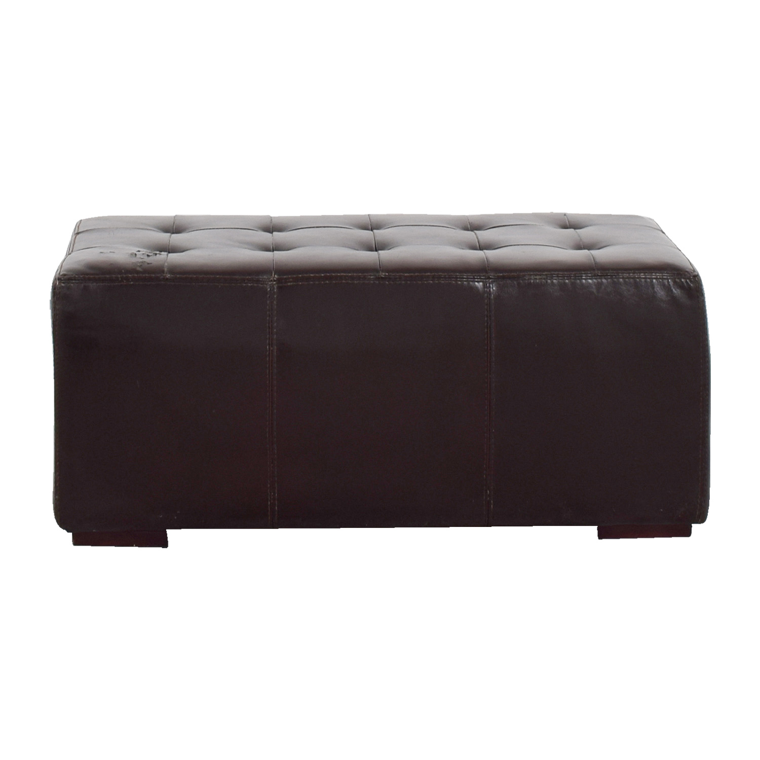 IKEA IKEA Brown Leather Tufted Ottoman on sale