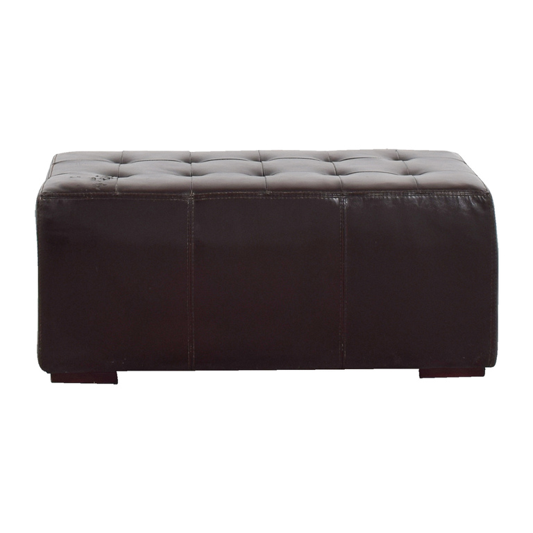 IKEA IKEA Brown Leather Tufted Ottoman discount