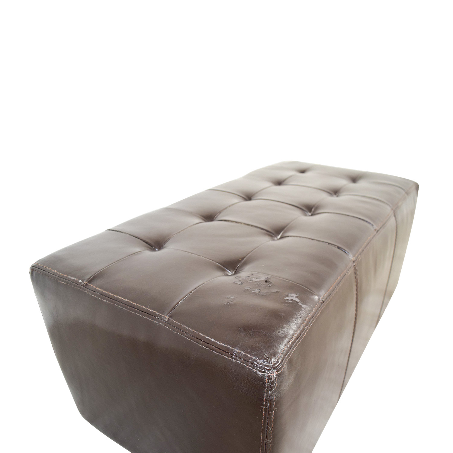 ... IKEA IKEA Brown Leather Tufted Ottoman On Sale ...